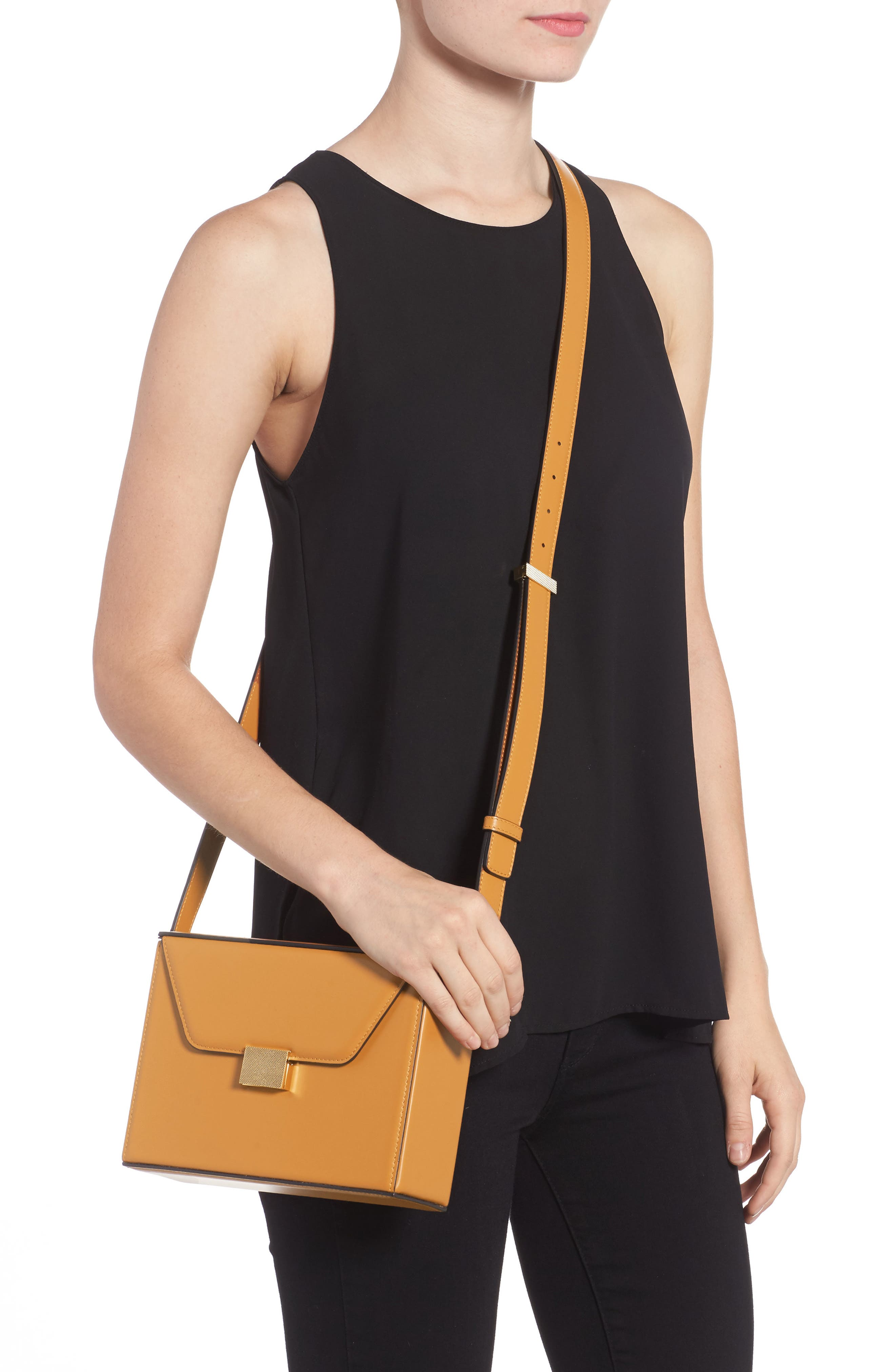Vanity Calfskin Leather Box Bag,                             Alternate thumbnail 2, color,                             Mustard
