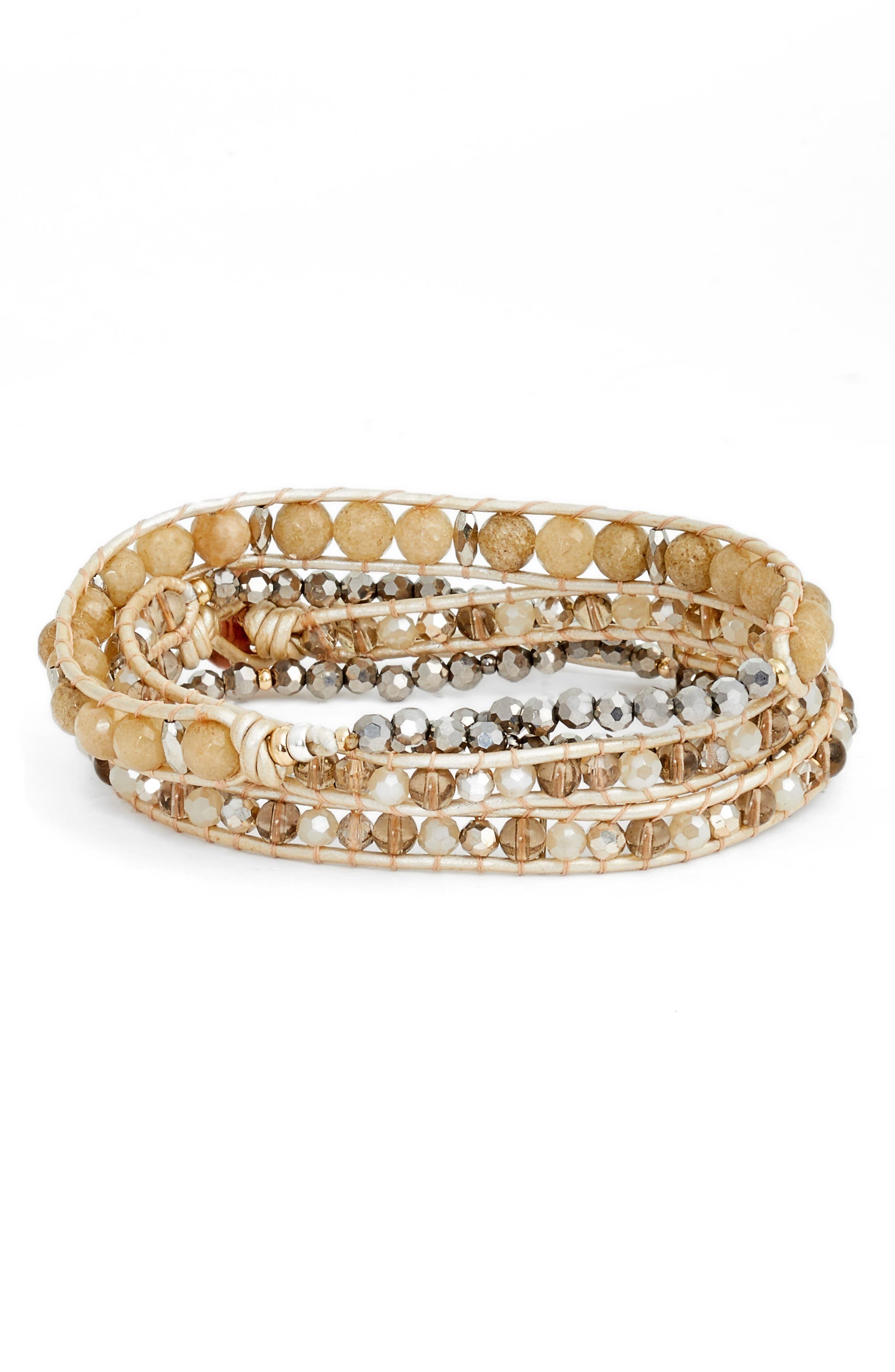 Beaded Wrap Bracelet,                         Main,                         color, Cream