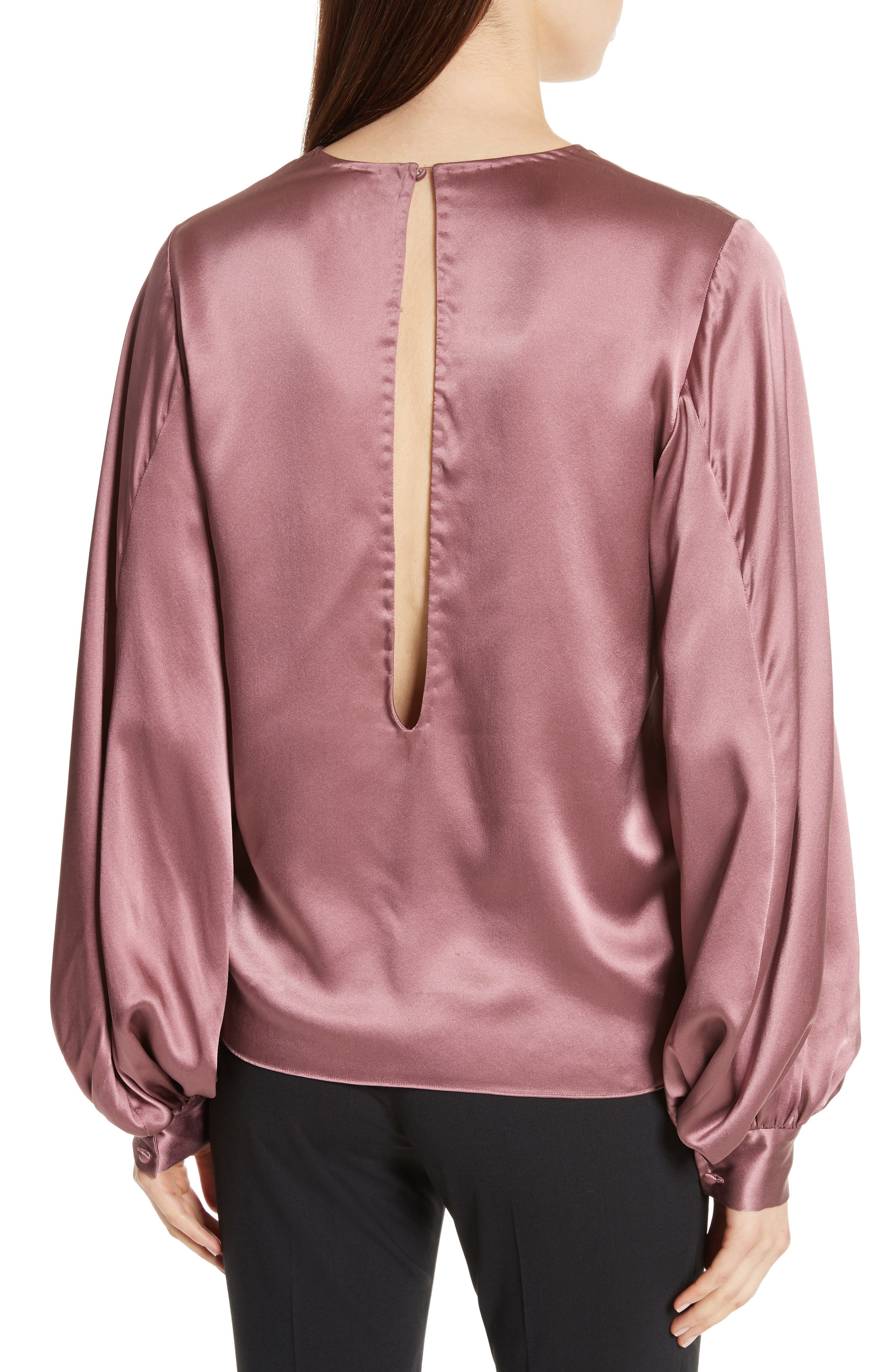Alternate Image 2  - Nili Lotan Loretta Silk Puff Sleeve Blouse