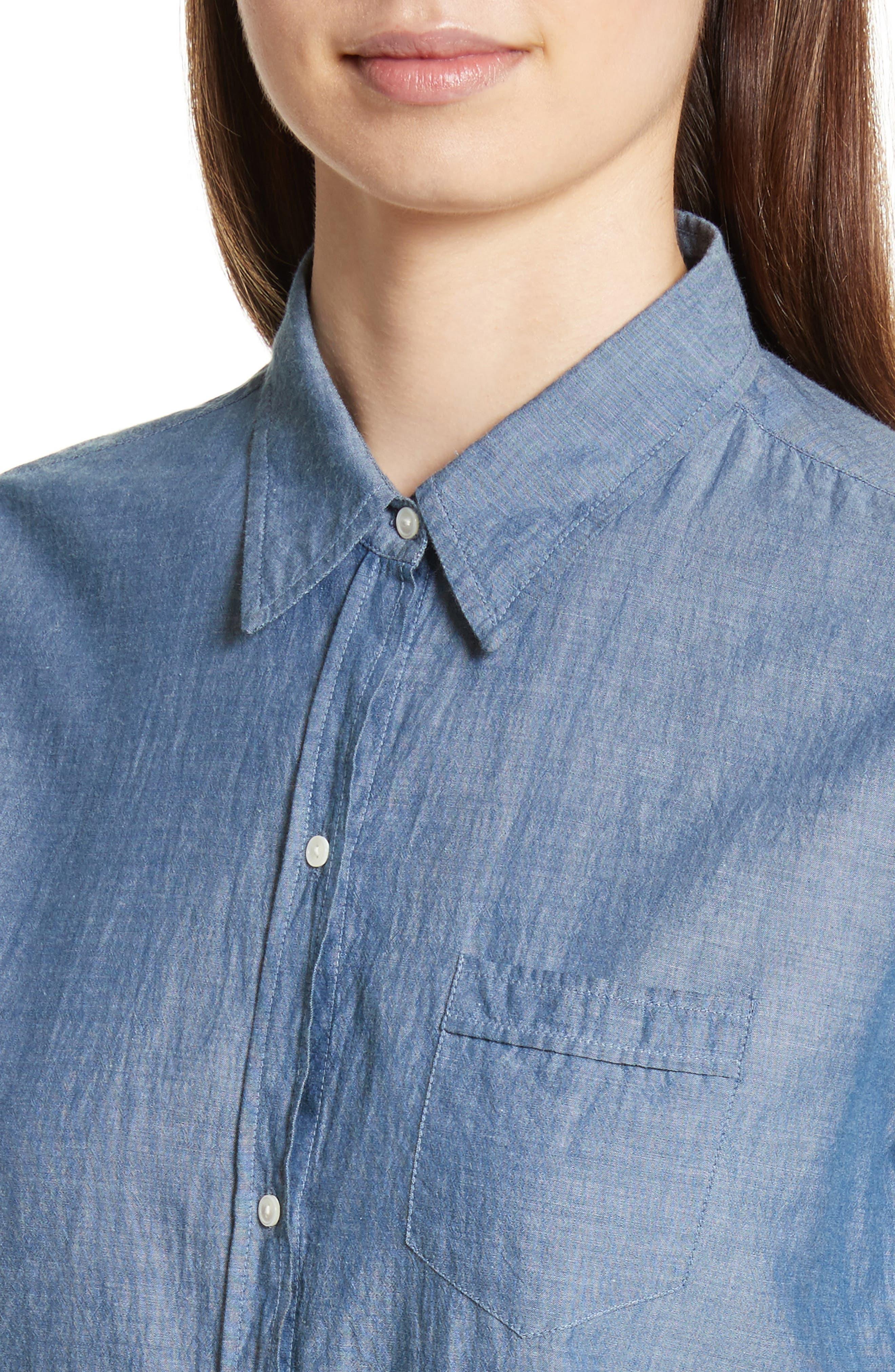 Chambray Shirt,                             Alternate thumbnail 4, color,                             Indigo Chambray