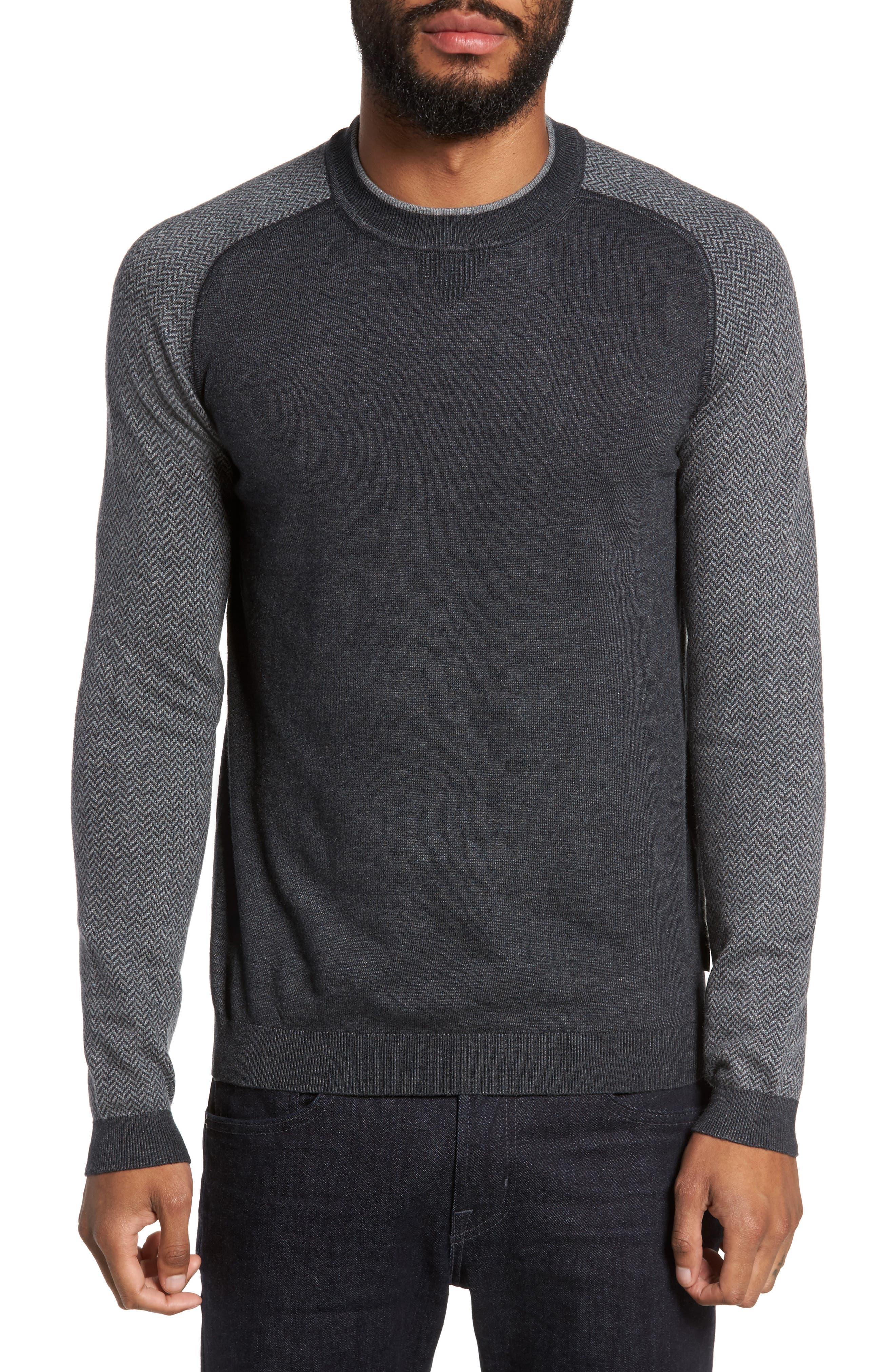 Main Image - Ted Baker London Pepmint Herringbone Sleeve Sweatshirt
