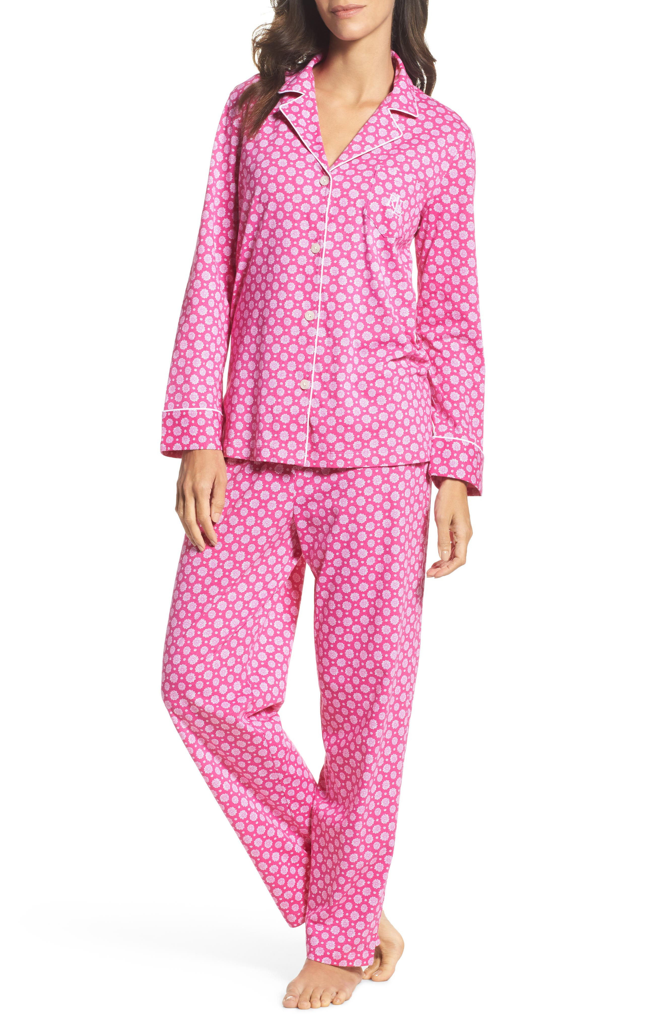 Notch Collar Pajamas,                             Main thumbnail 1, color,                             Pink Floral
