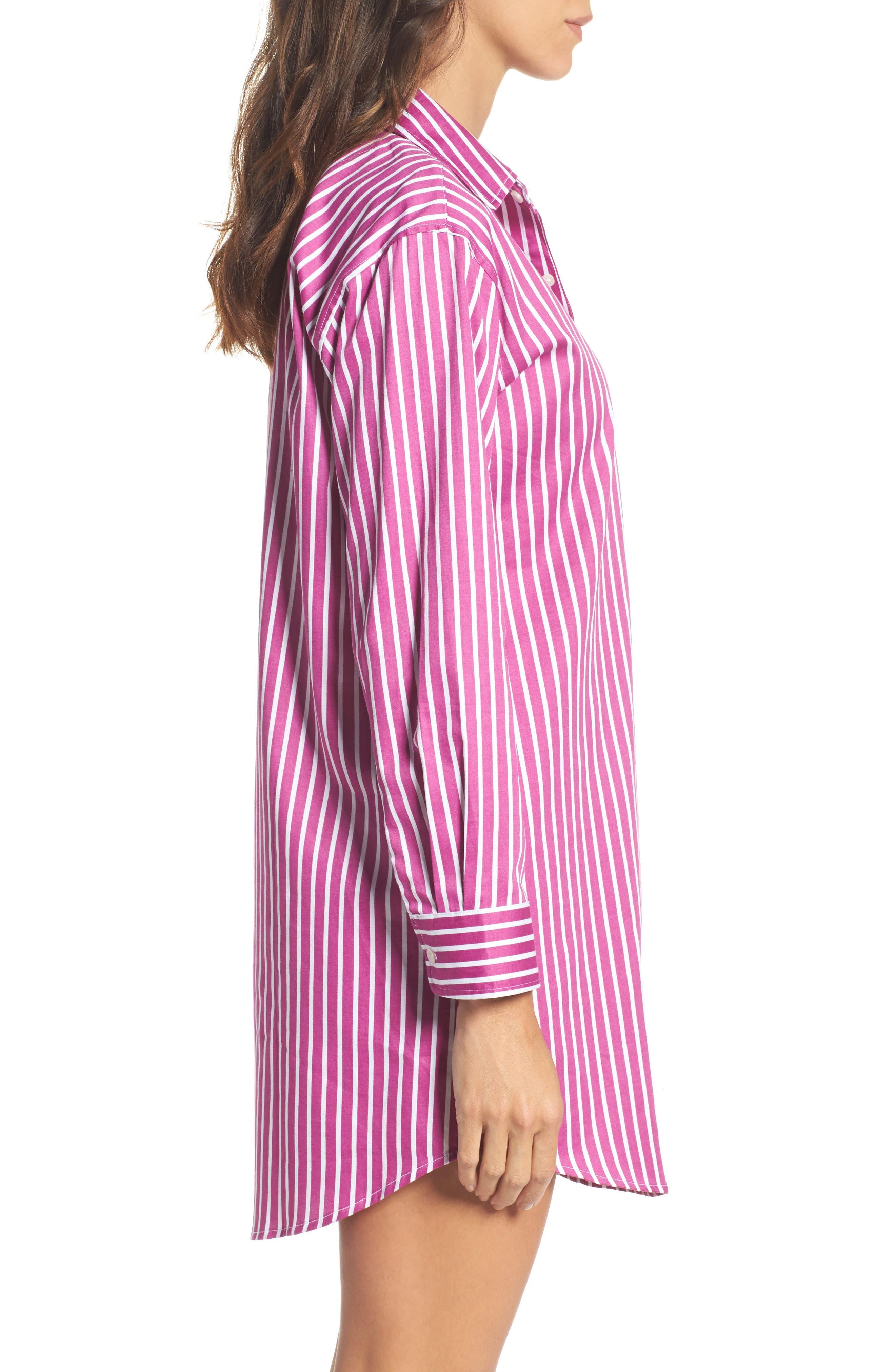 Sleep Shirt,                             Alternate thumbnail 3, color,                             Pink/ White Stripe