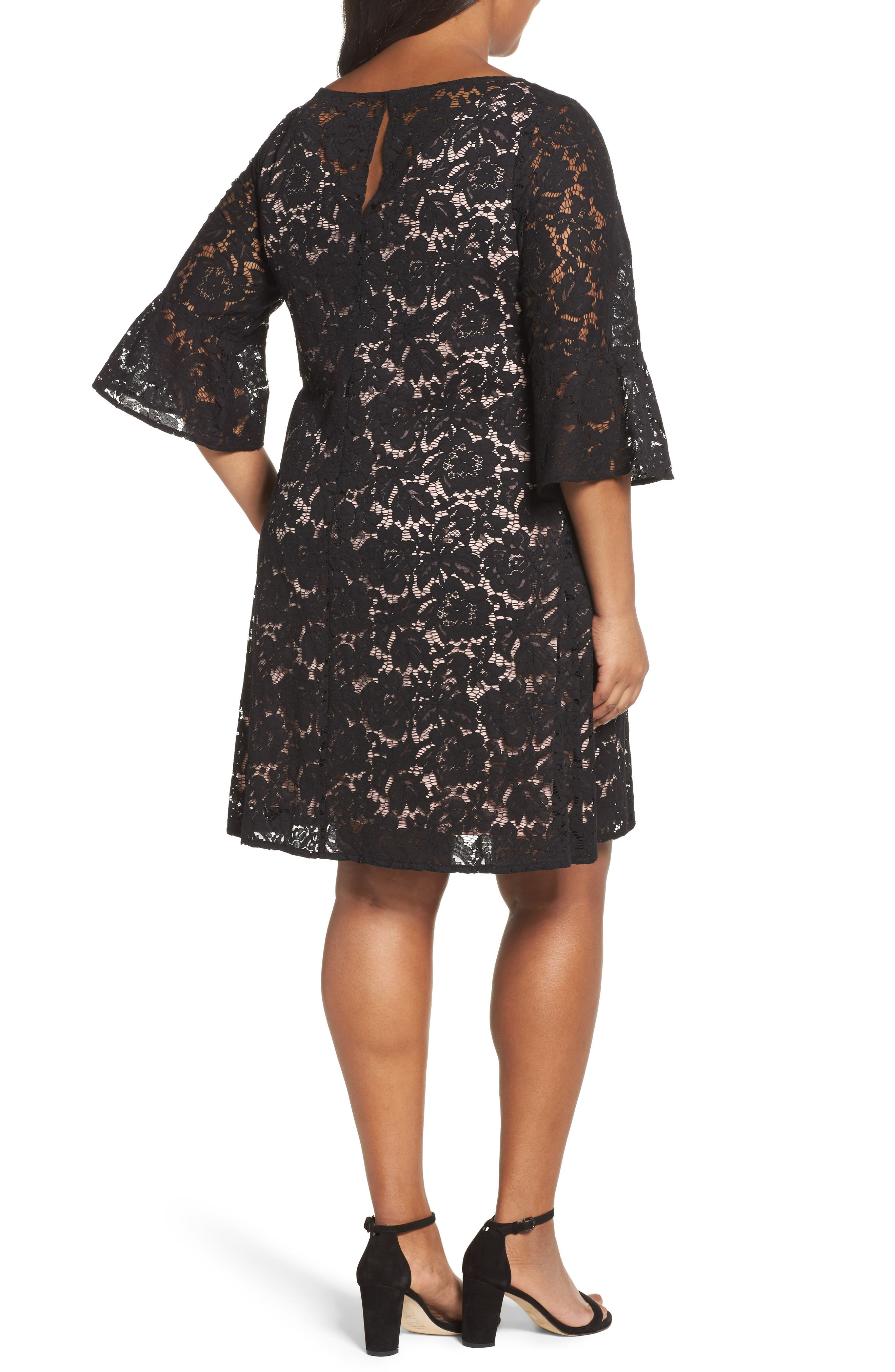 Lace A-Line Dress,                             Alternate thumbnail 2, color,                             Black/ Carnation