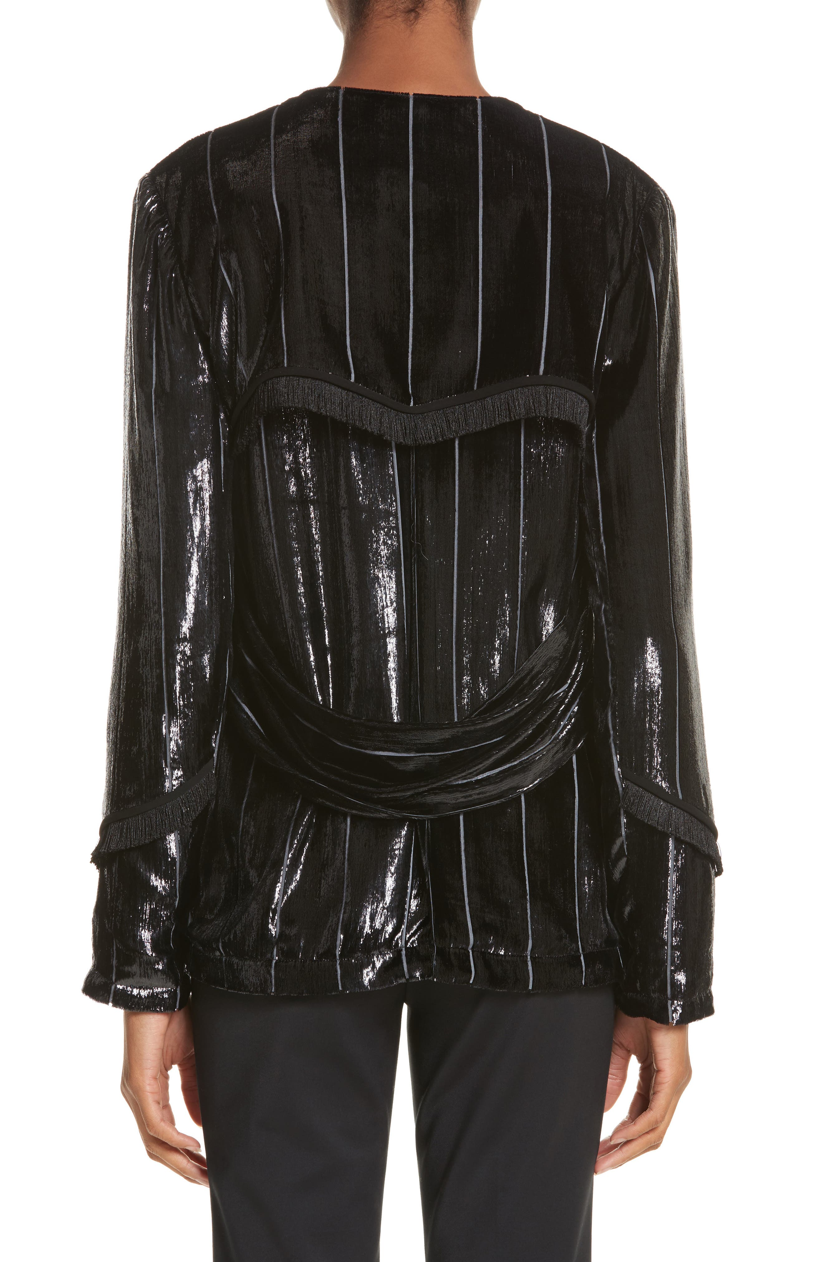 Alternate Image 2  - Yigal Azrouël Fringe Trim Liquid Velvet Blazer