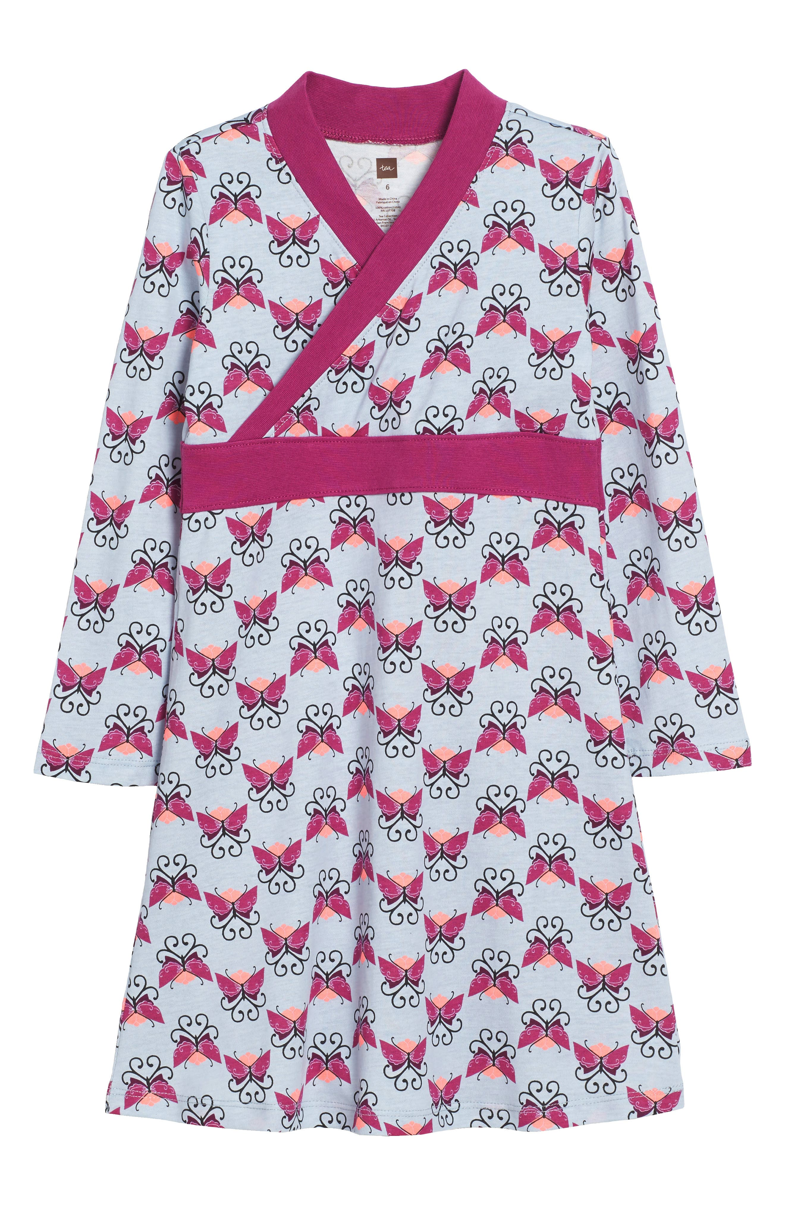 Beitiris Print Wrap Neck Dress,                             Main thumbnail 1, color,                             Horizon