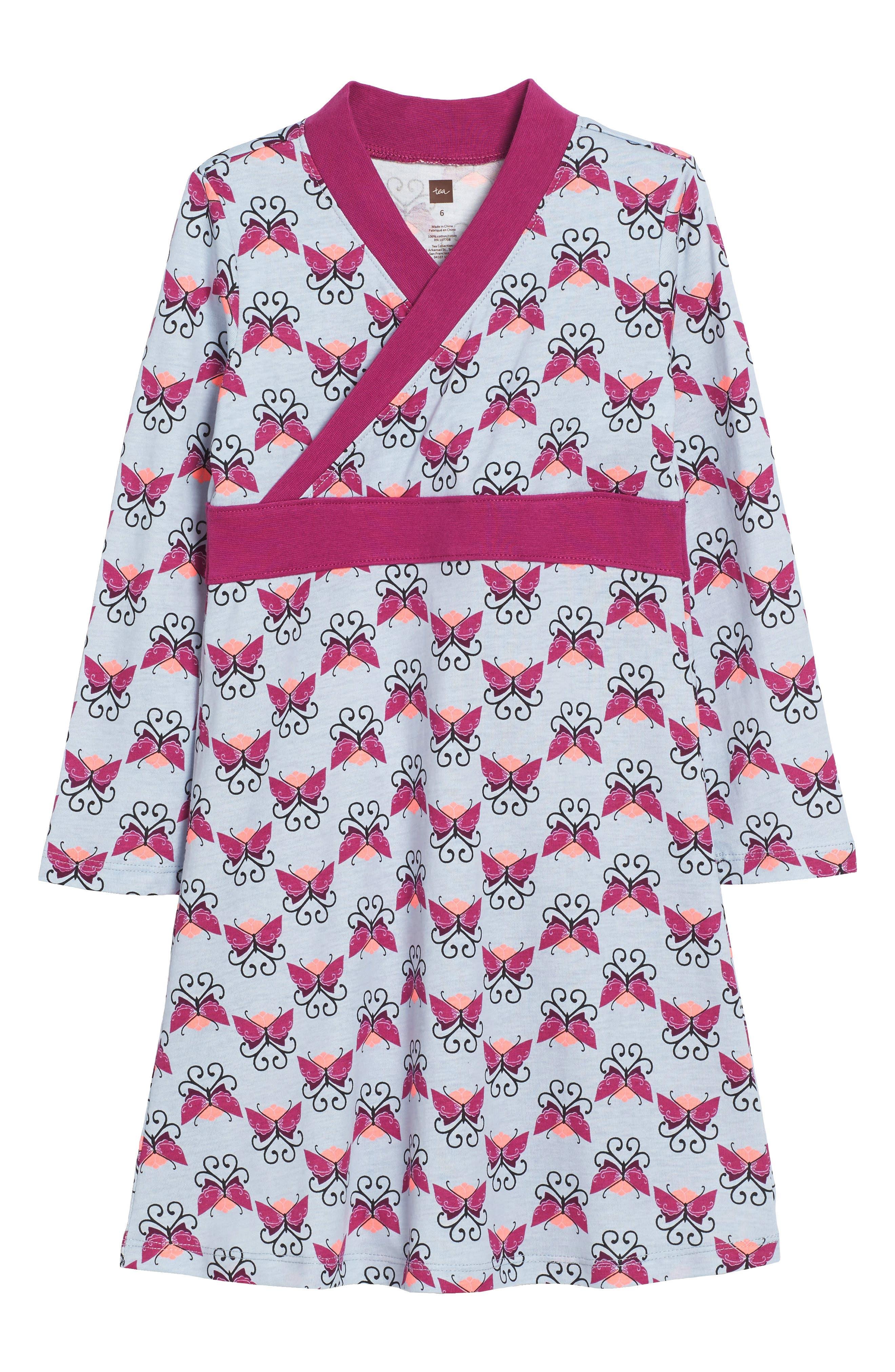 Tea Collection Beitiris Print Wrap Neck Dress (Toddler Girls, Little Girls & Big Girls)