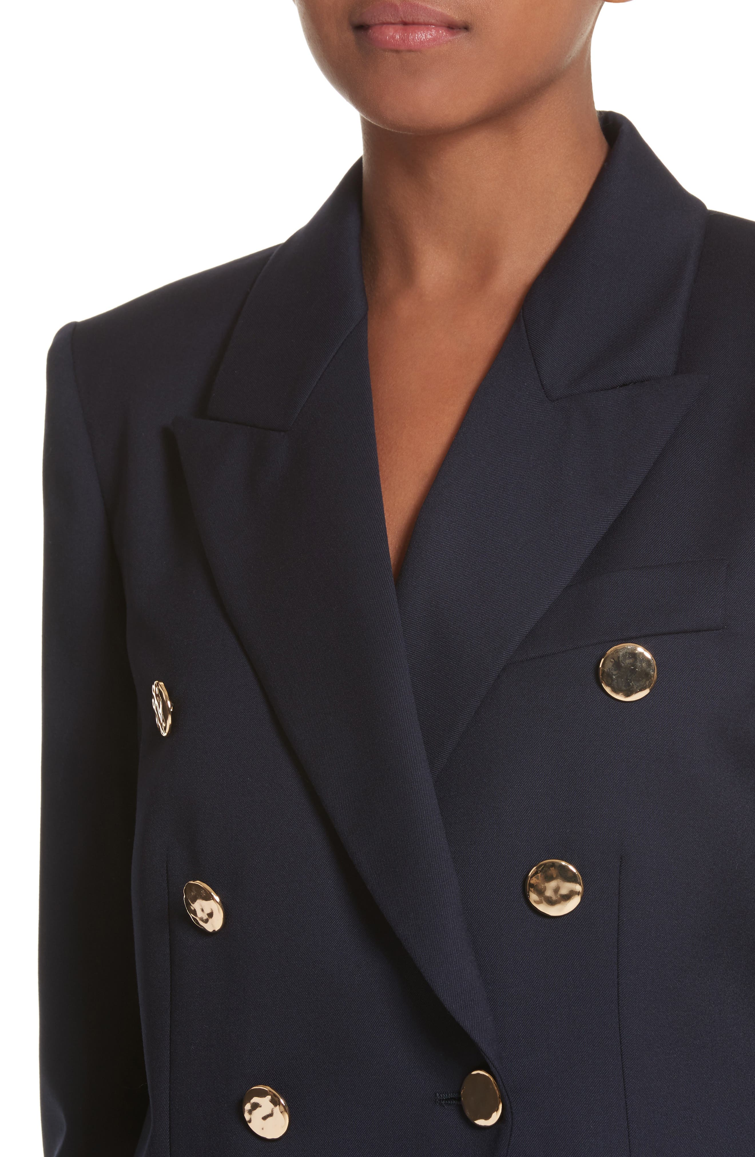 Double Breasted Wool Blazer,                             Alternate thumbnail 4, color,                             Navy