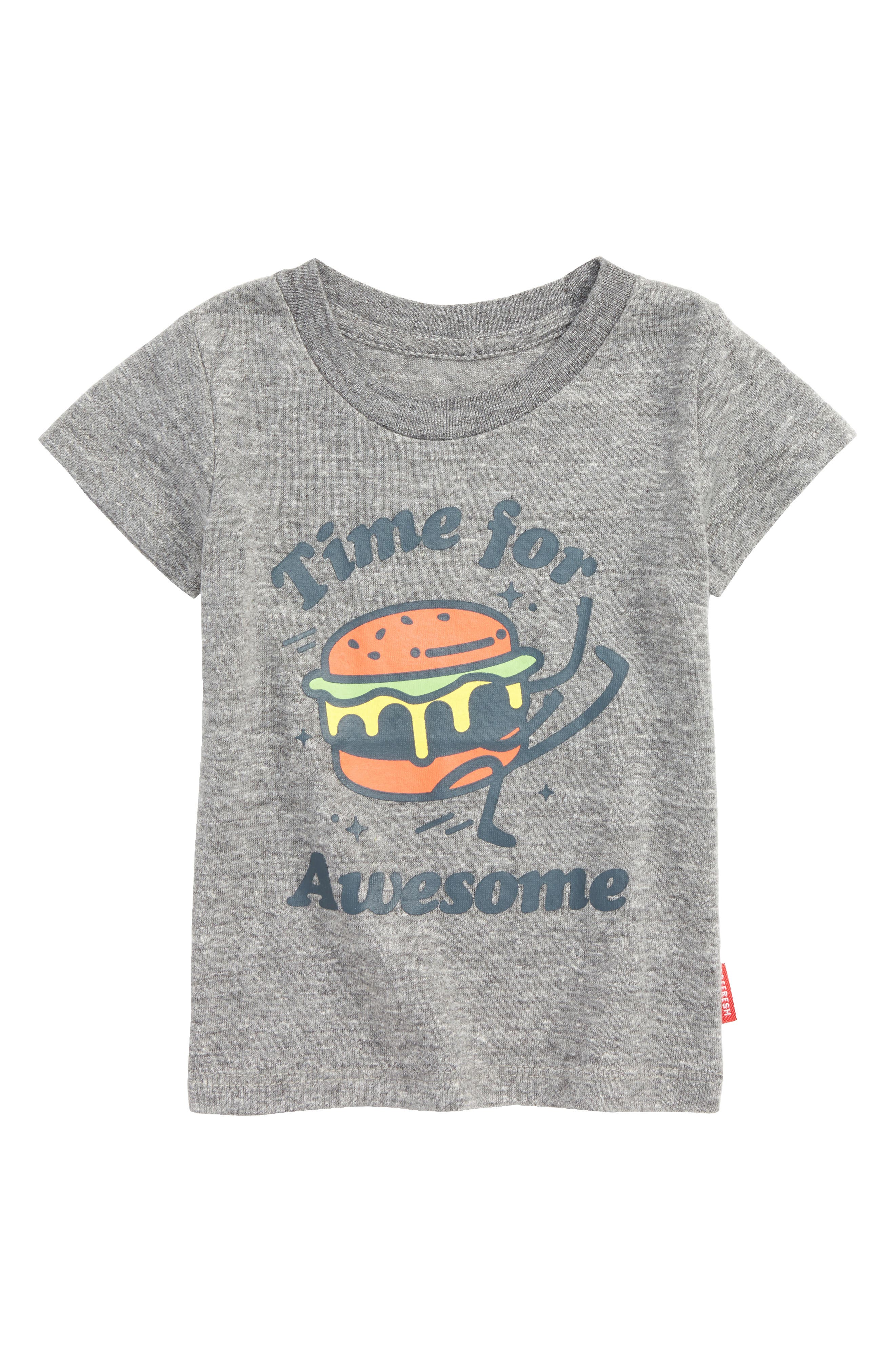 Awesome Burger Graphic T-Shirt,                             Main thumbnail 1, color,                             Heather Grey