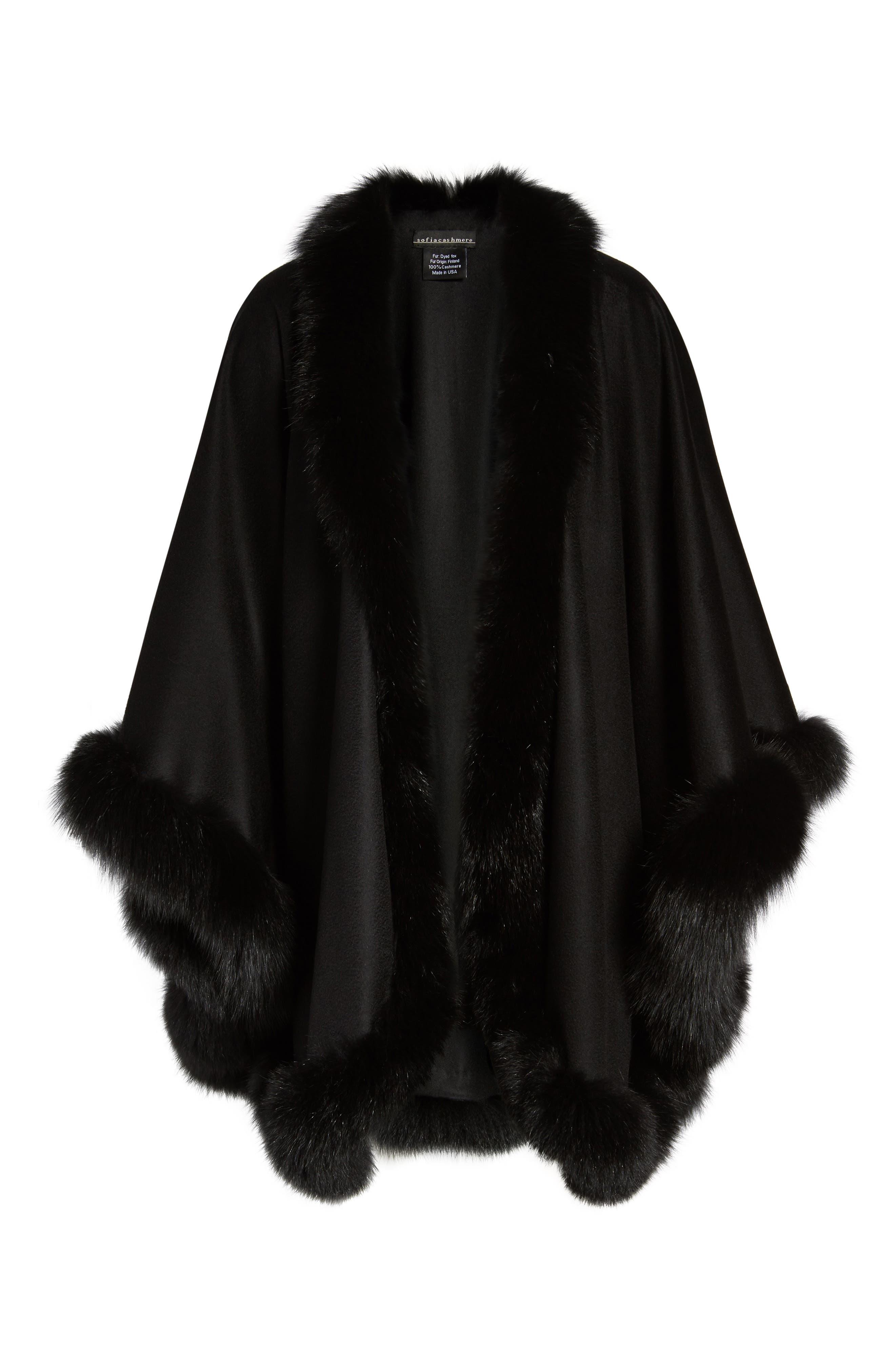 Alternate Image 6  - Sofia Cashmere Genuine Fox Fur Trim Cape