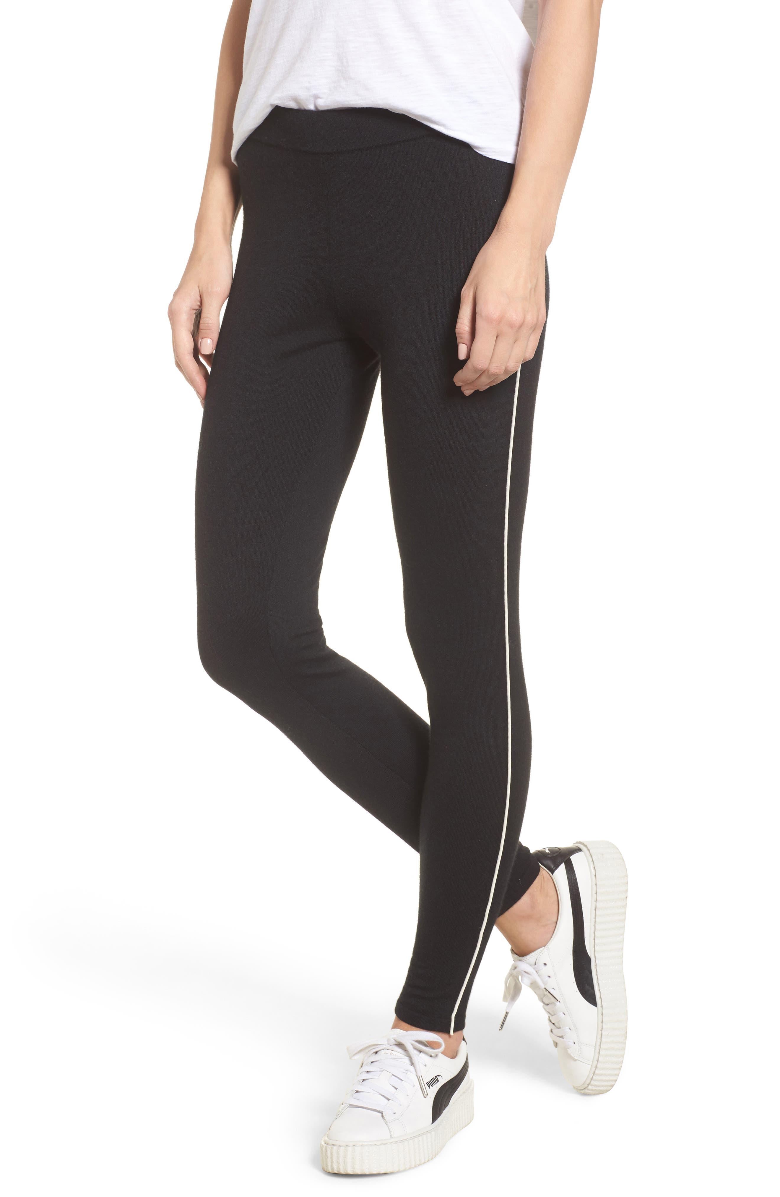 Stretch Cashmere Leggings,                         Main,                         color, Black