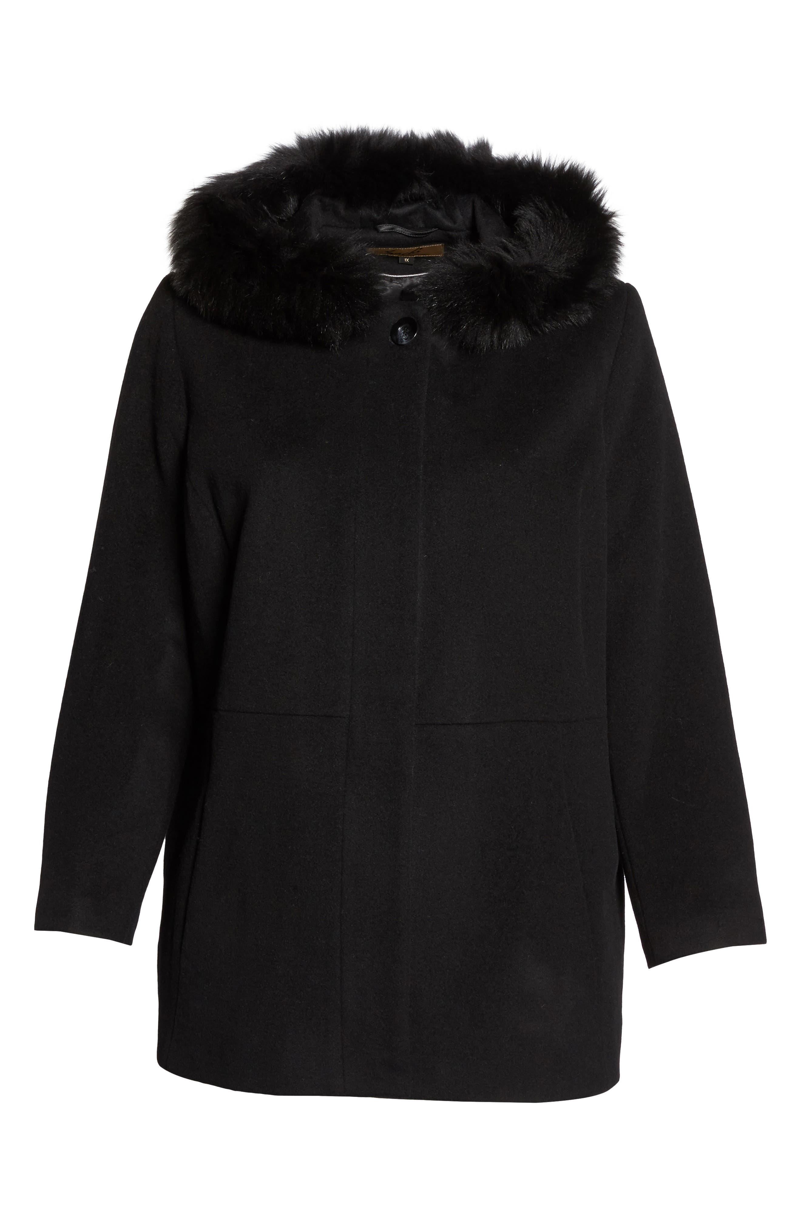 Alternate Image 6  - Sachi Genuine Fox Fur Trim Hooded Wool Blend Jacket (Plus Size)