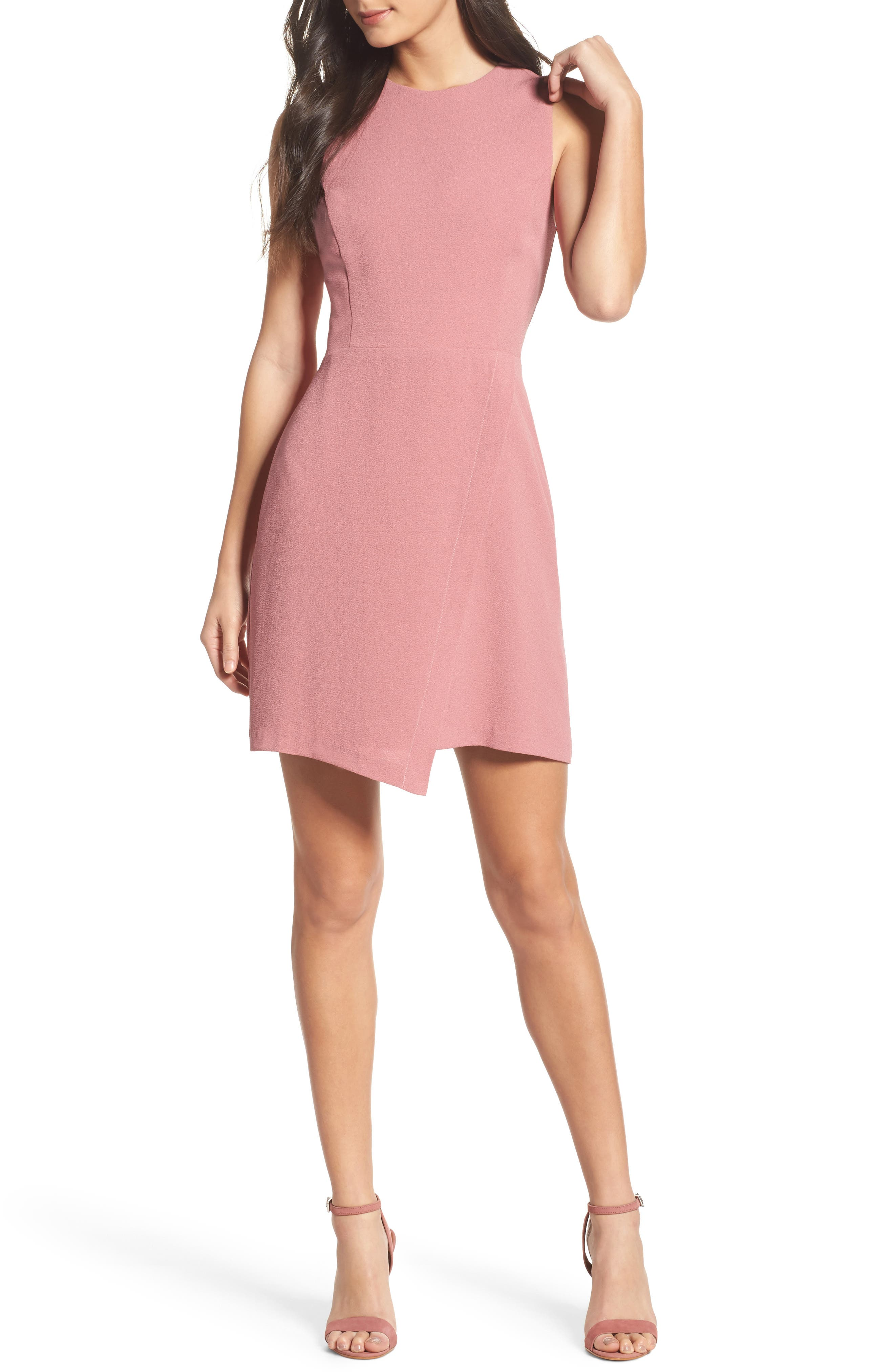 Faux Wrap Dress,                         Main,                         color, Mauve