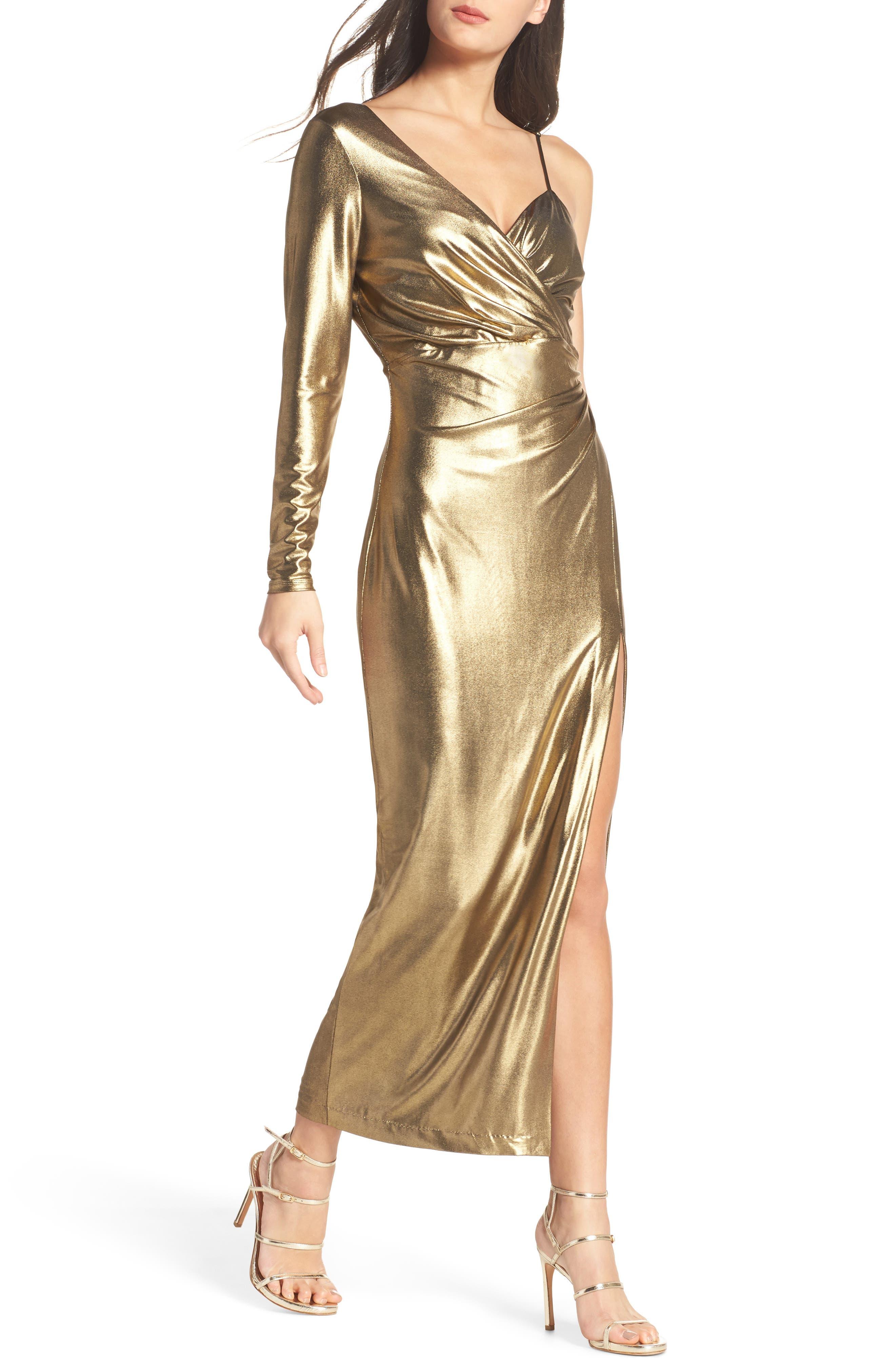 Aurel Metallic Dress,                         Main,                         color, Golden