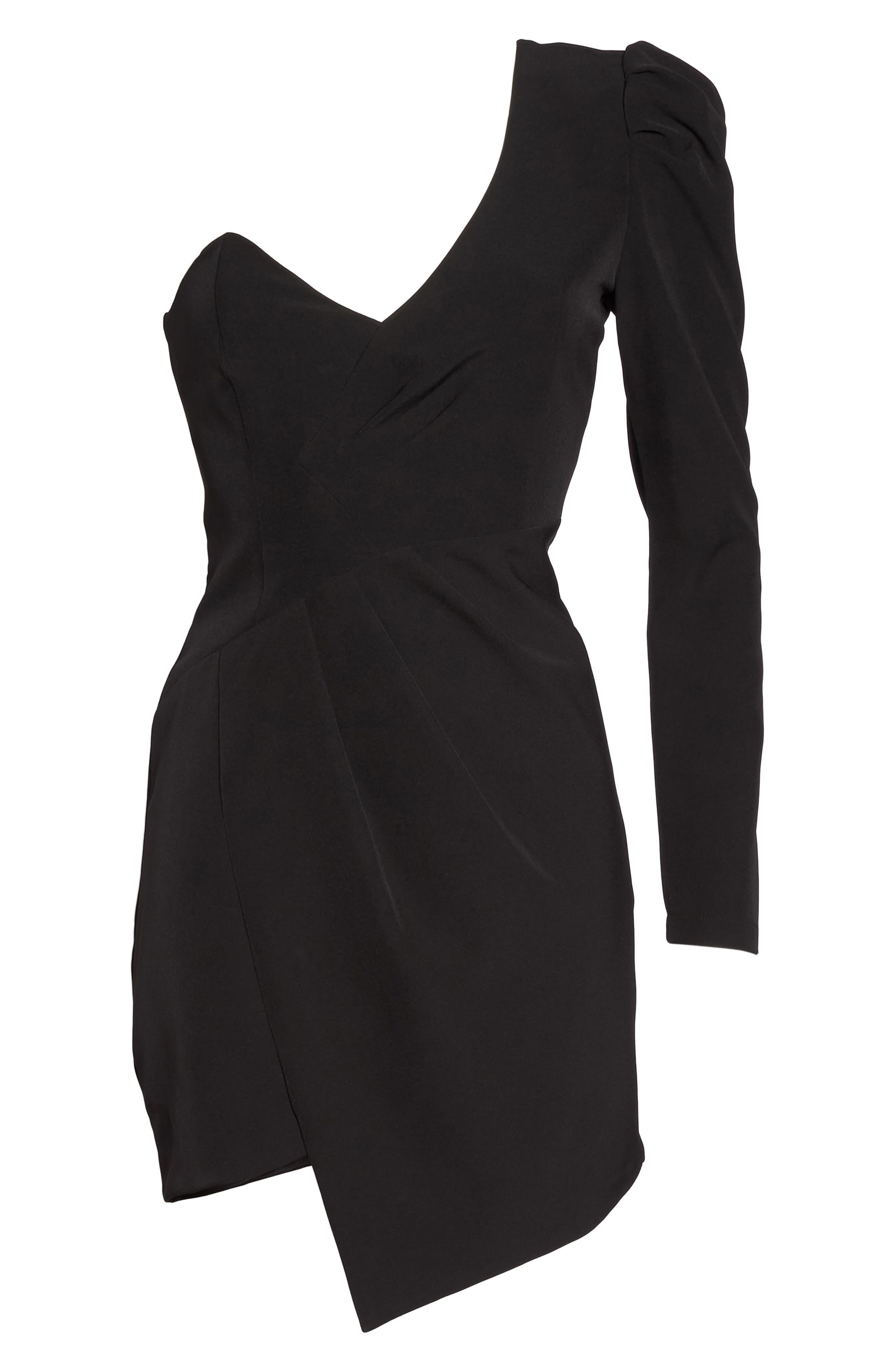 Anja One-Shoulder Sheath Dress,                             Alternate thumbnail 6, color,                             Black