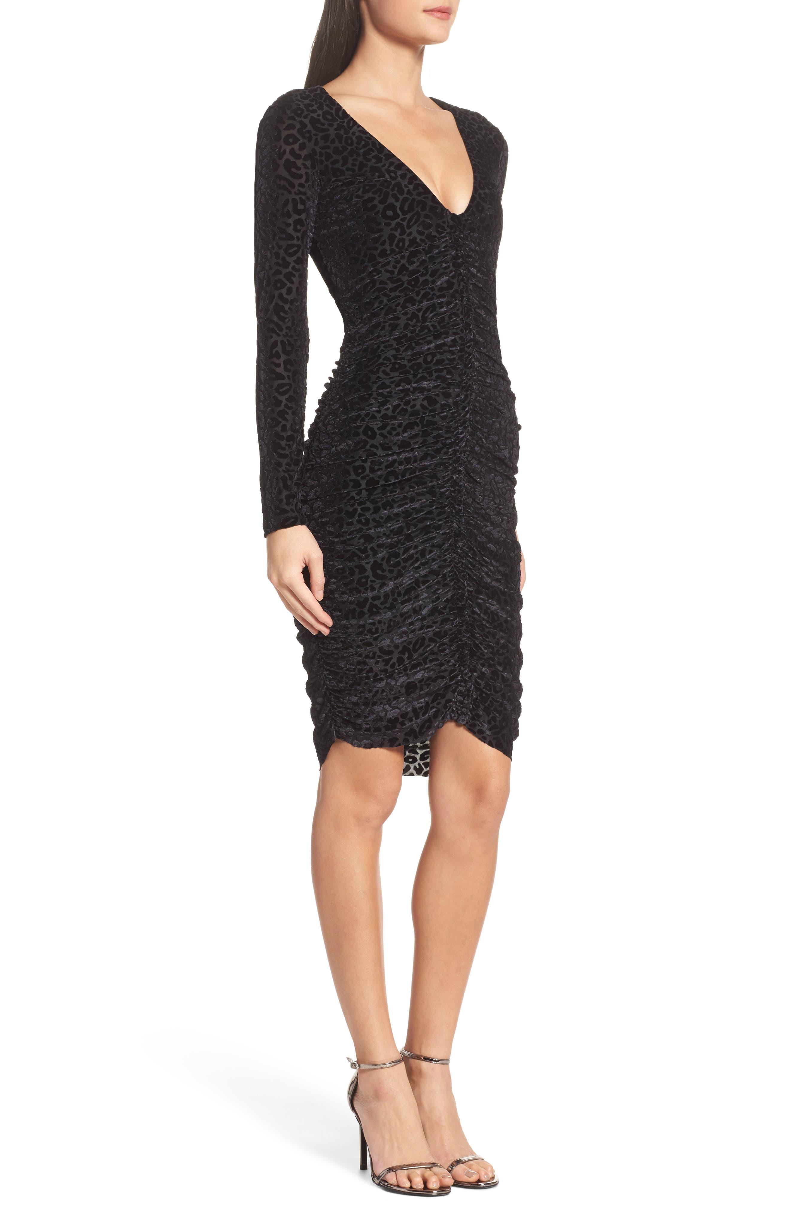 Alternate Image 3  - Bardot Leopard Velvet Mesh Body-Con Dress