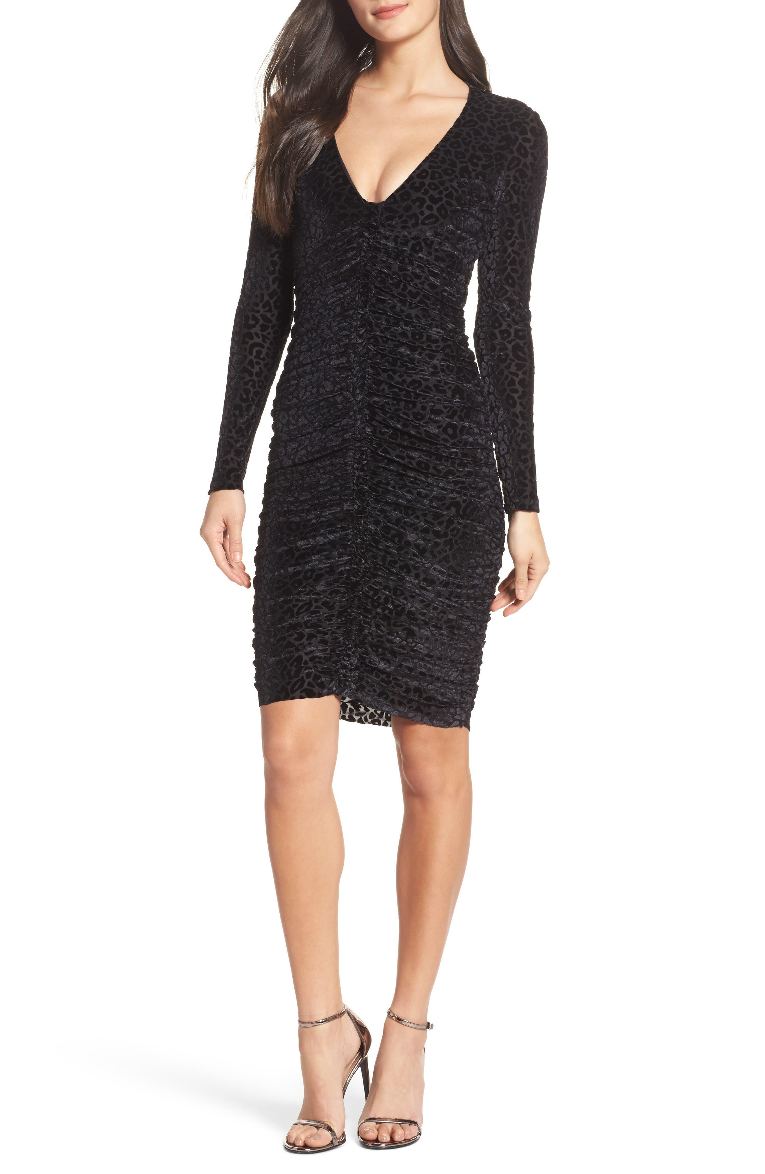 Leopard Velvet Mesh Body-Con Dress,                         Main,                         color, Black