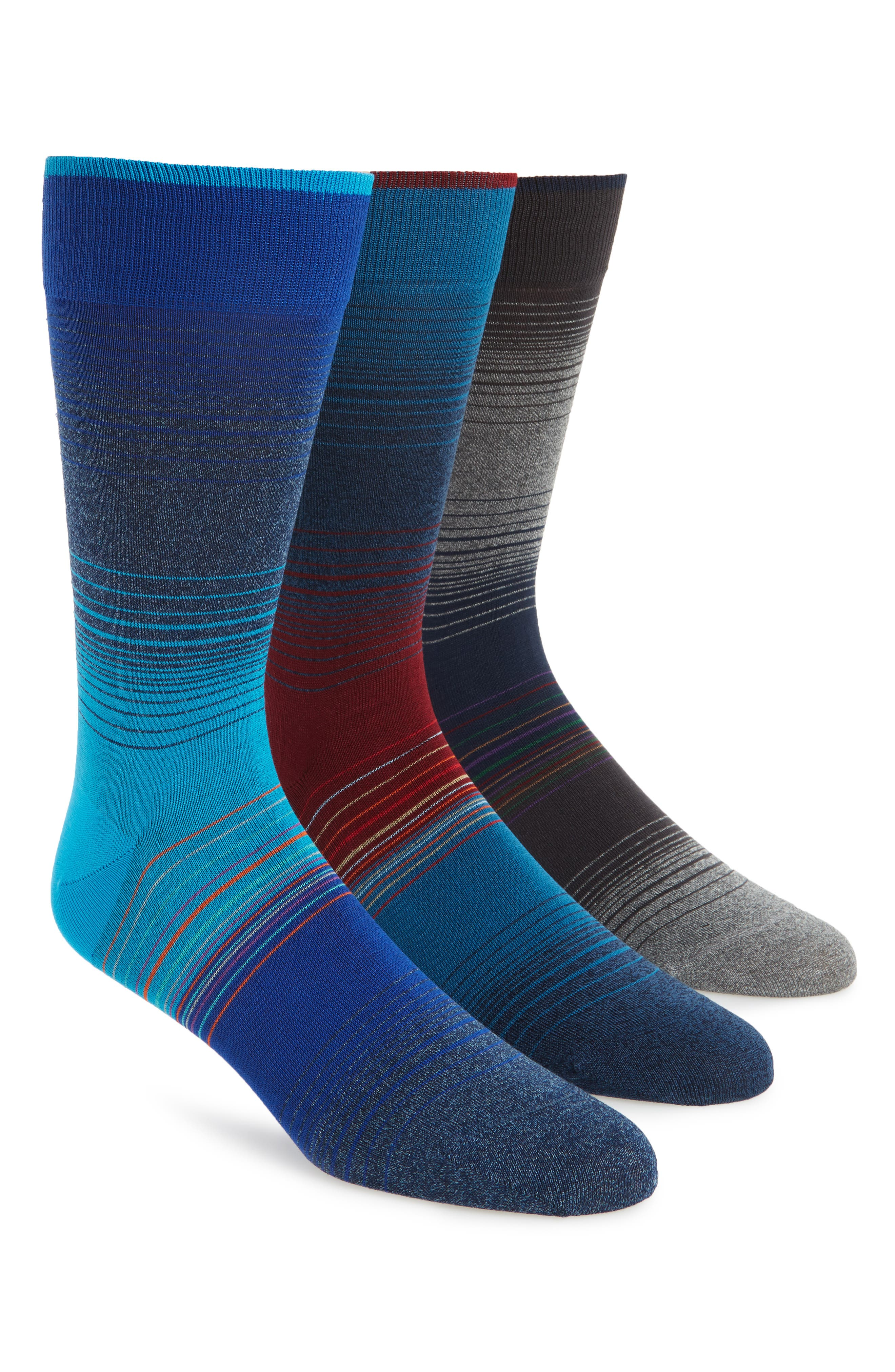 Alternate Image 1 Selected - Bugatchi 3-Pack Stripe Cotton & Cashmere Blend Socks ($59.85 Value)