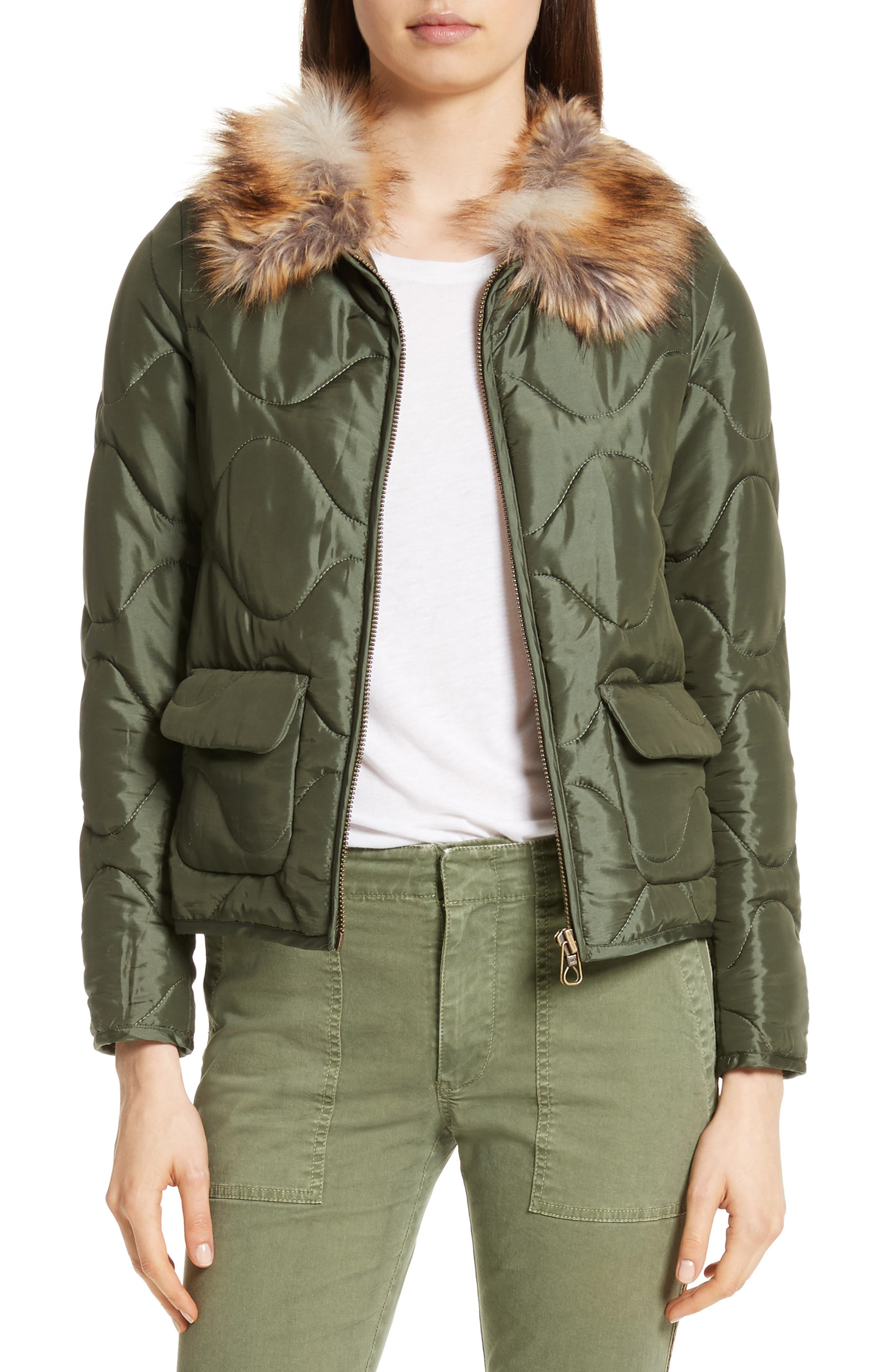 Alvy Faux Fur Collar Quilted Coat,                         Main,                         color, Army Green