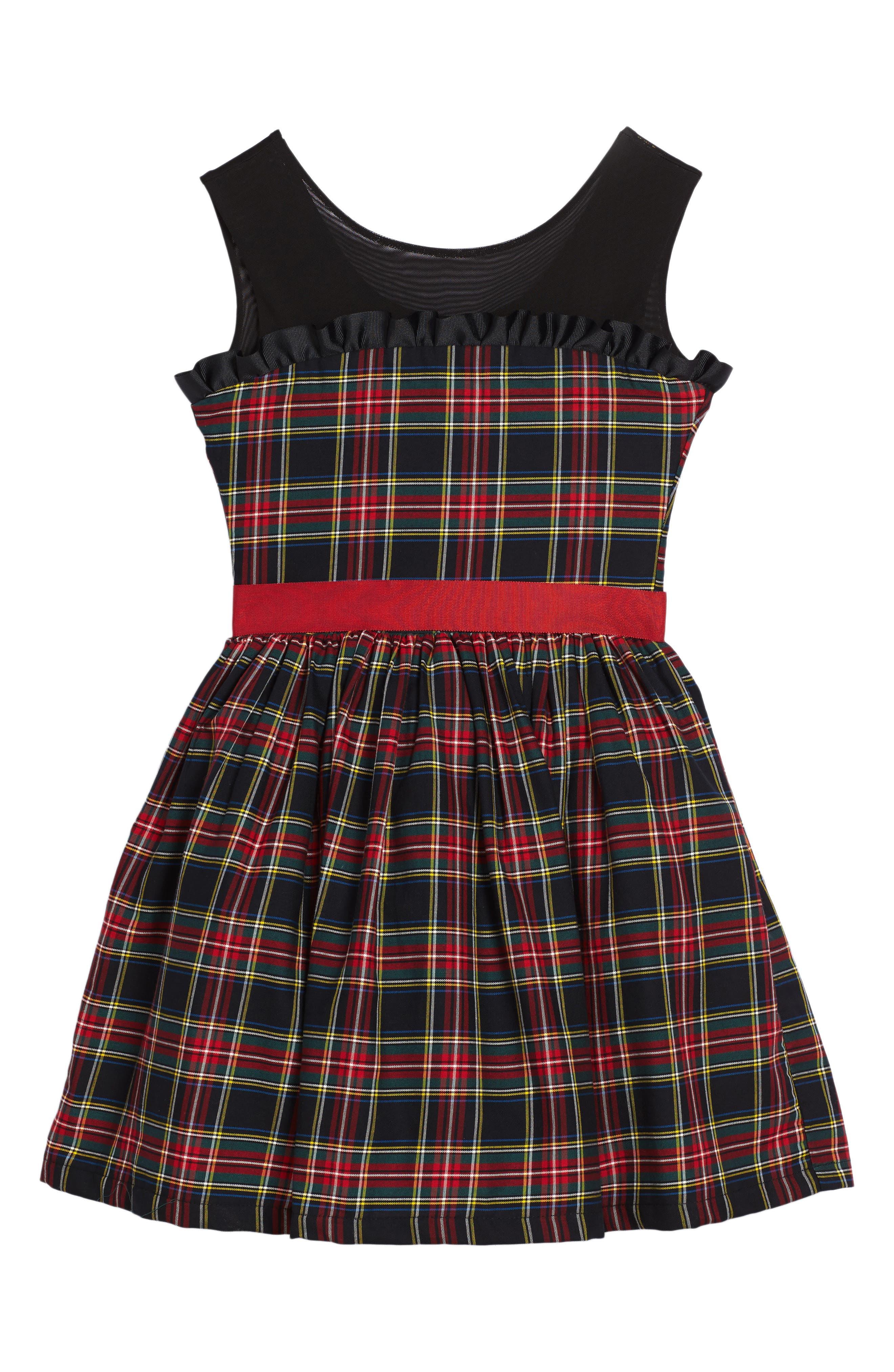 Main Image - Fiveloaves Twofish Winter Tartan Party Dress (Big Girls)