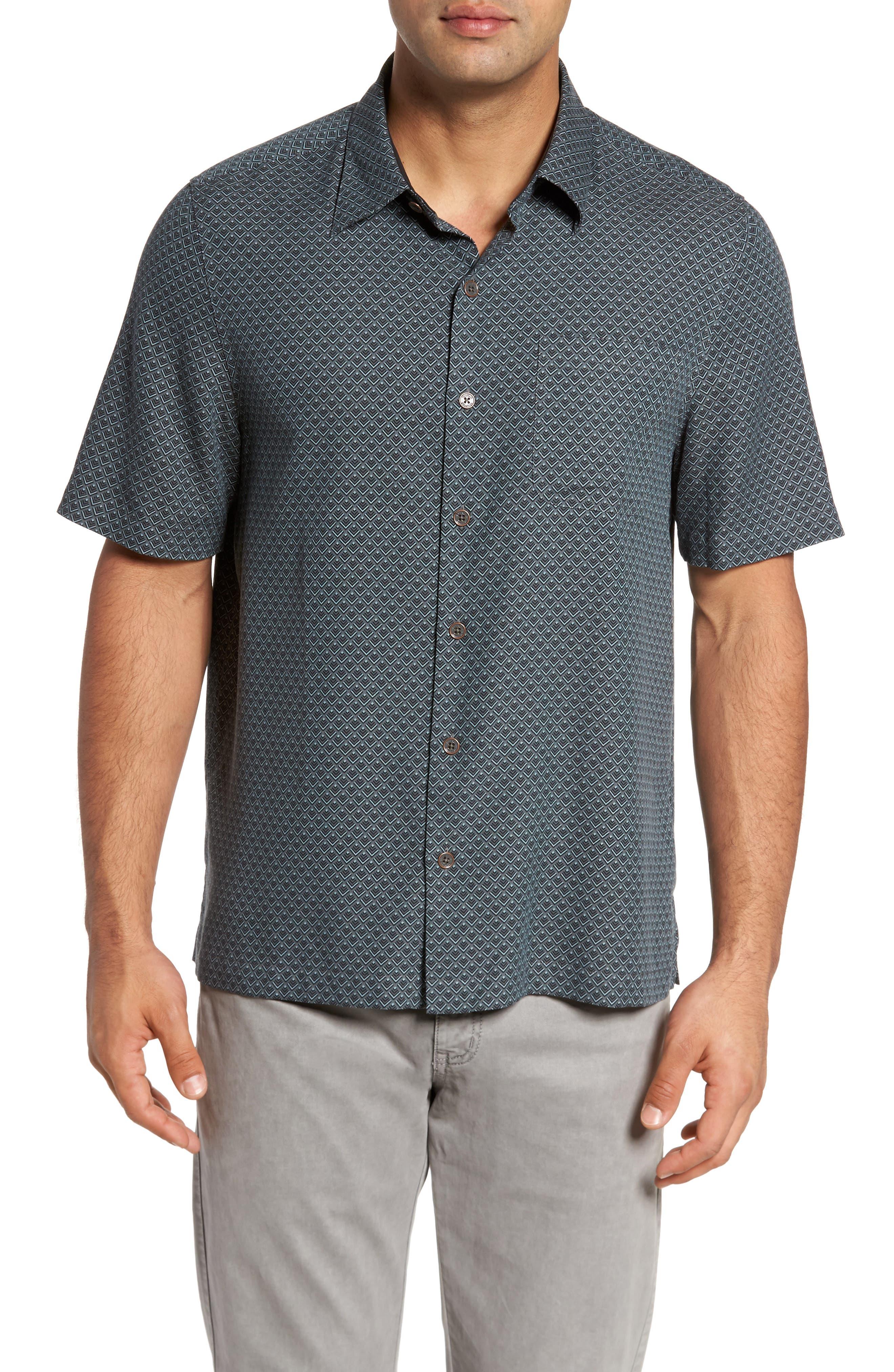 Ajax Classic Fit Silk Blend Camp Shirt,                         Main,                         color, Black