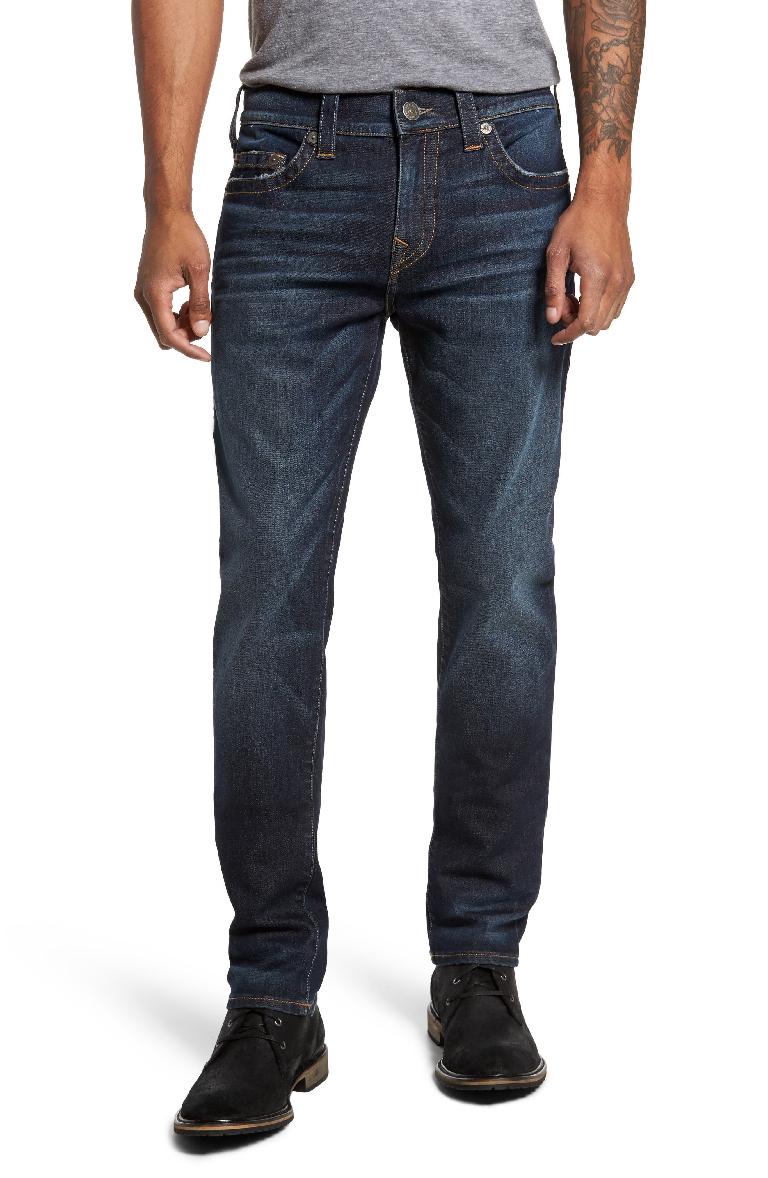 Alternate Image 1 Selected - True Religion Brand Jeans Rocco Skinny Fit Jeans (Dark Indigo Luxe)