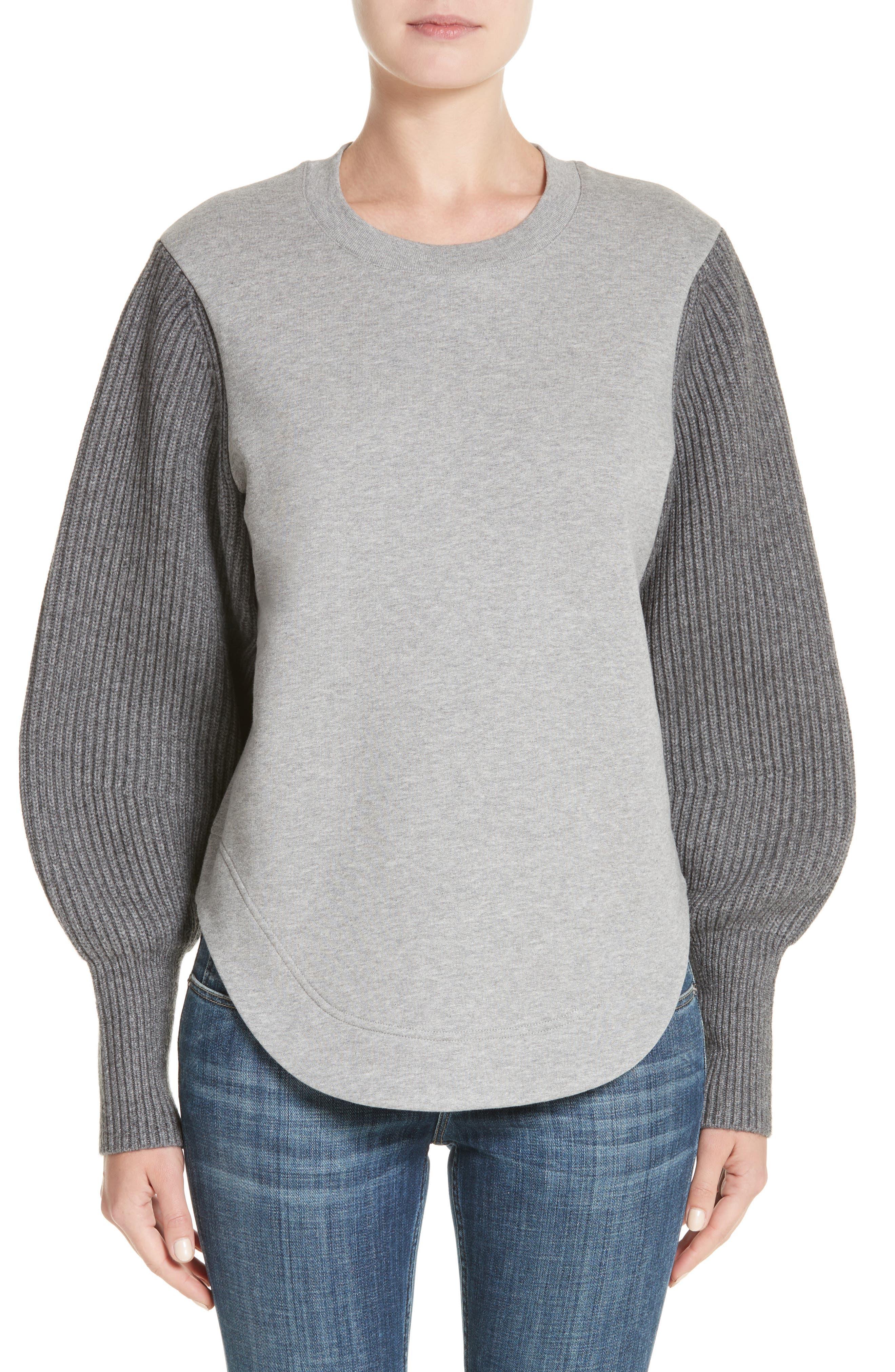 Alcobaca Rib Knit Sleeve Sweatshirt,                         Main,                         color, Pale Grey Melange
