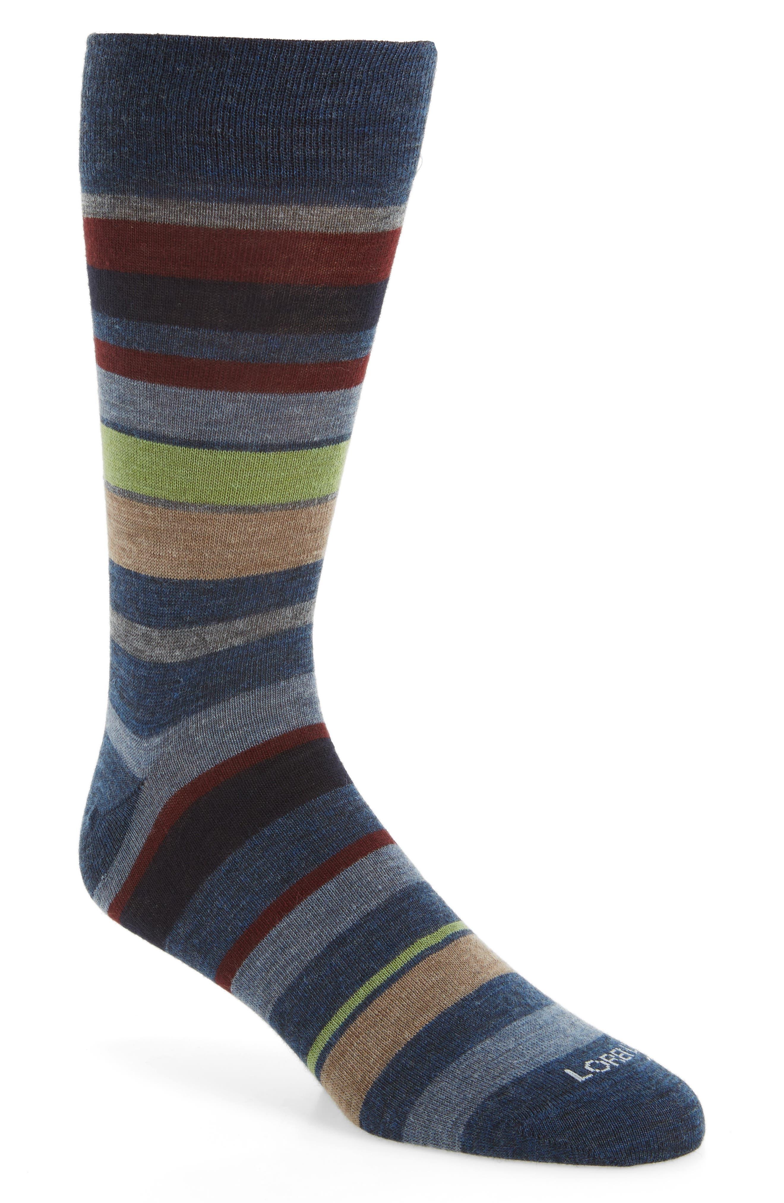 Multistripe Socks,                             Main thumbnail 1, color,                             Denim