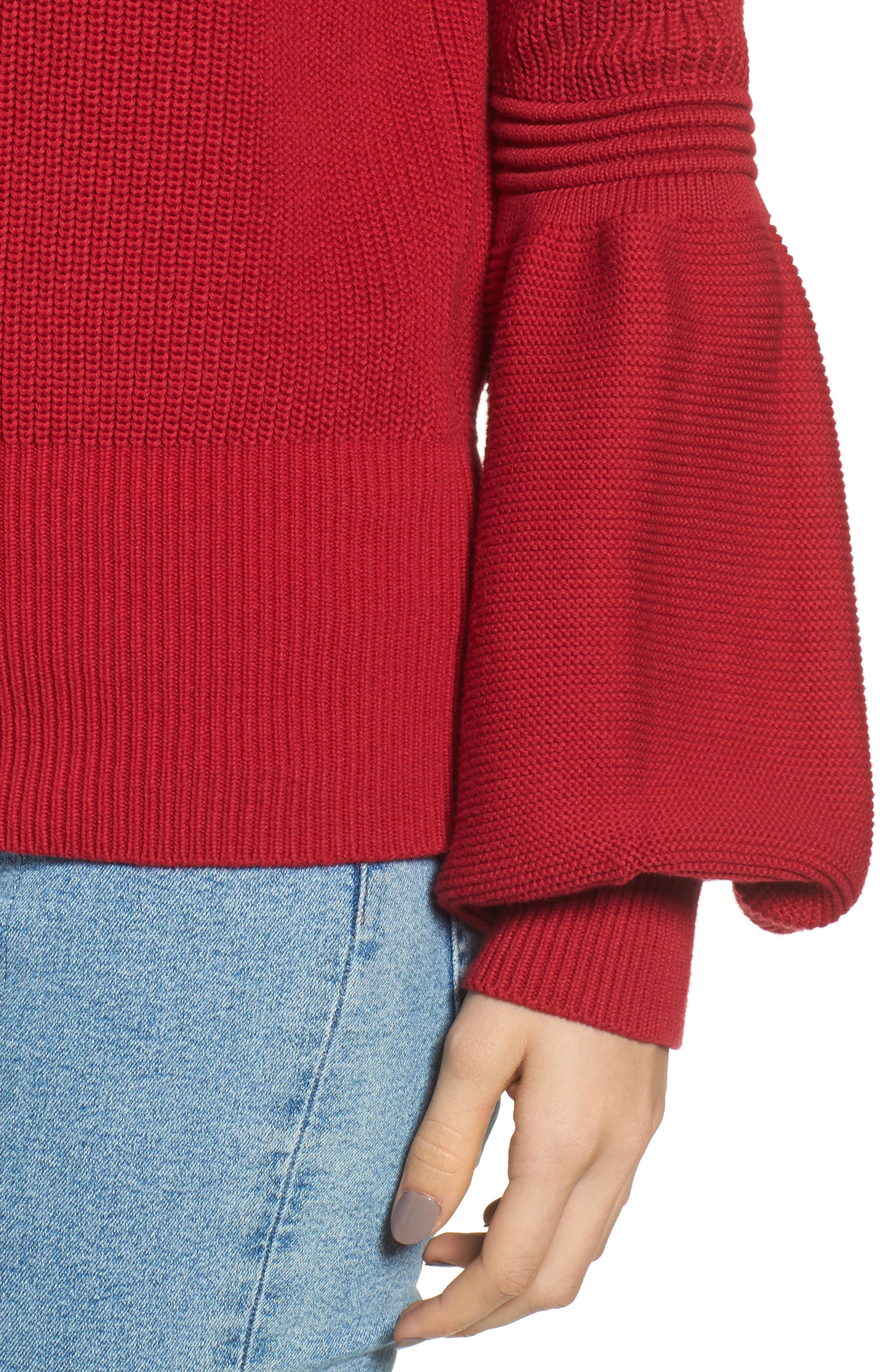 Sculpture Puff Sleeve Sweater,                             Alternate thumbnail 4, color,                             Red