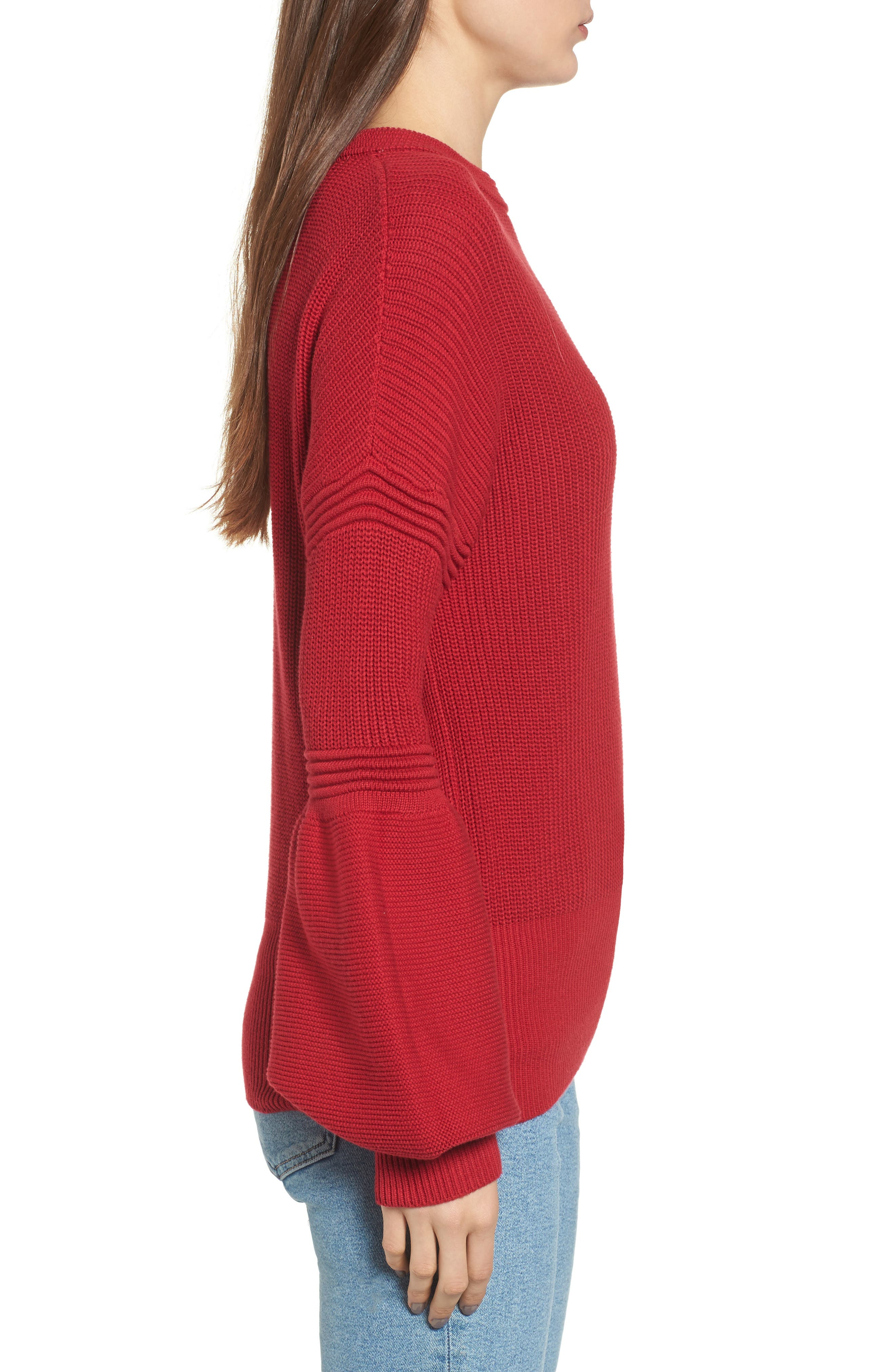 Sculpture Puff Sleeve Sweater,                             Alternate thumbnail 3, color,                             Red
