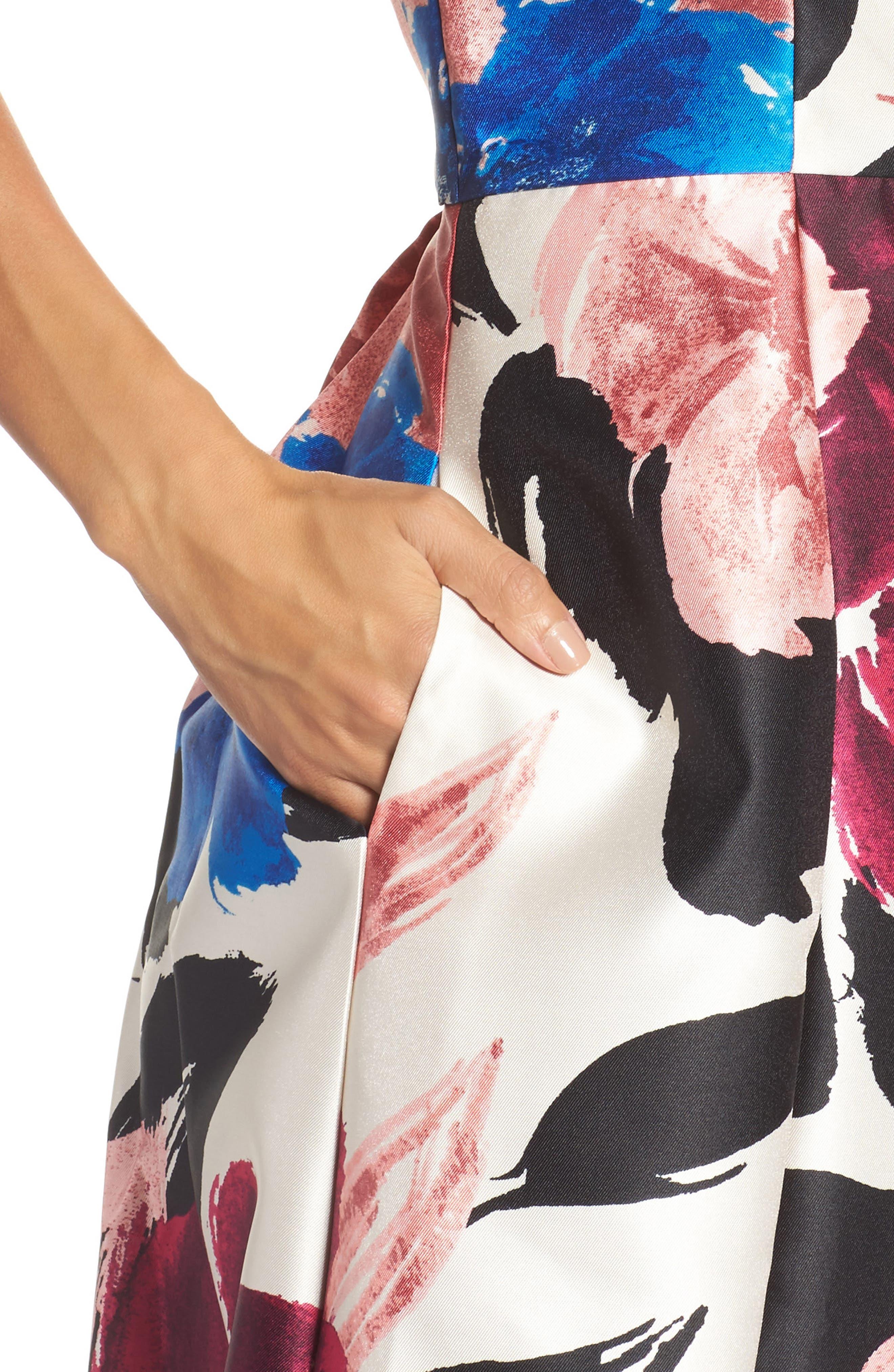 Arcadia Floral Print Ballgown,                             Alternate thumbnail 4, color,                             Multi