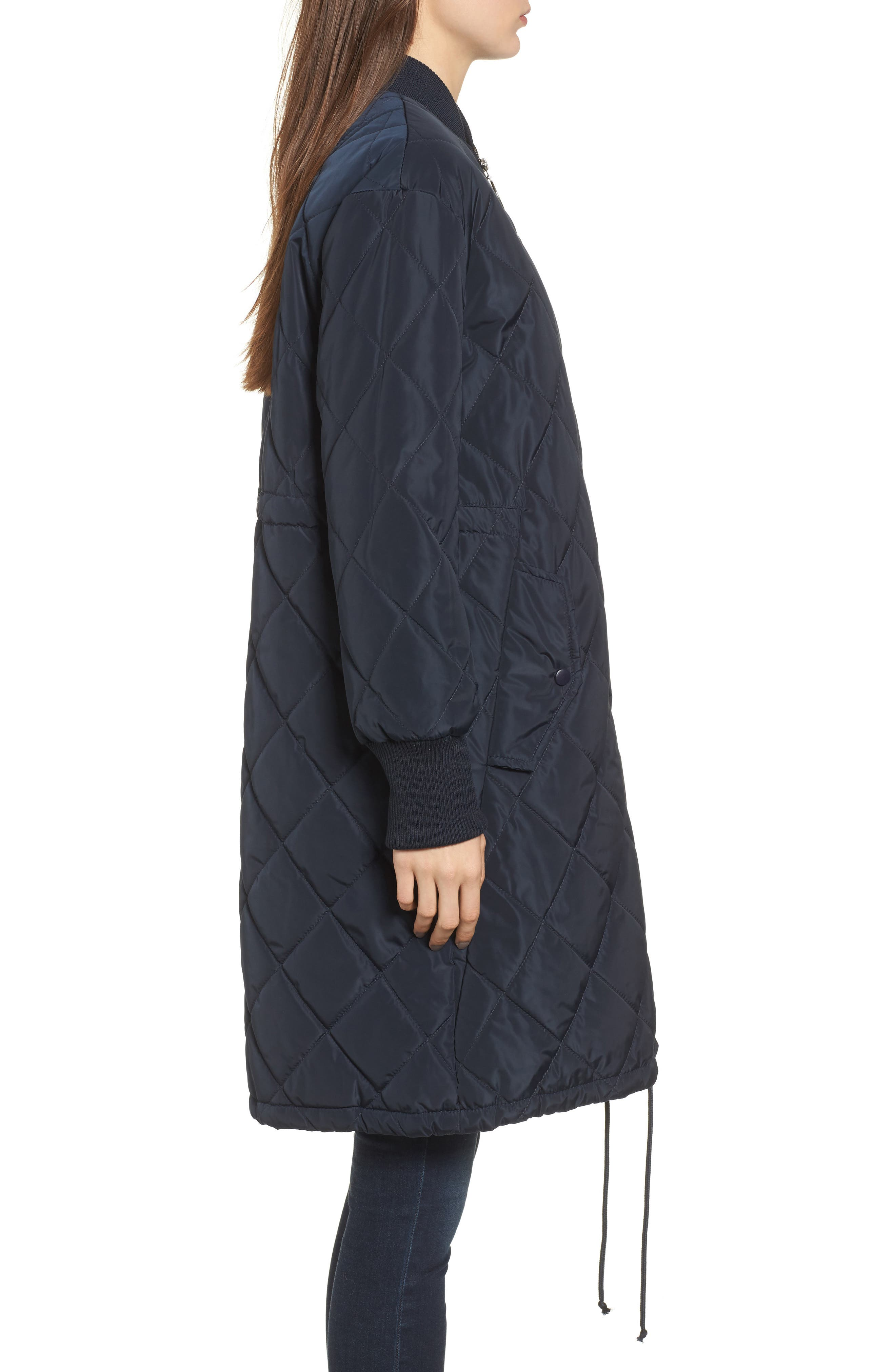 Merchant Long Quilted Jacket,                             Alternate thumbnail 3, color,                             Navy