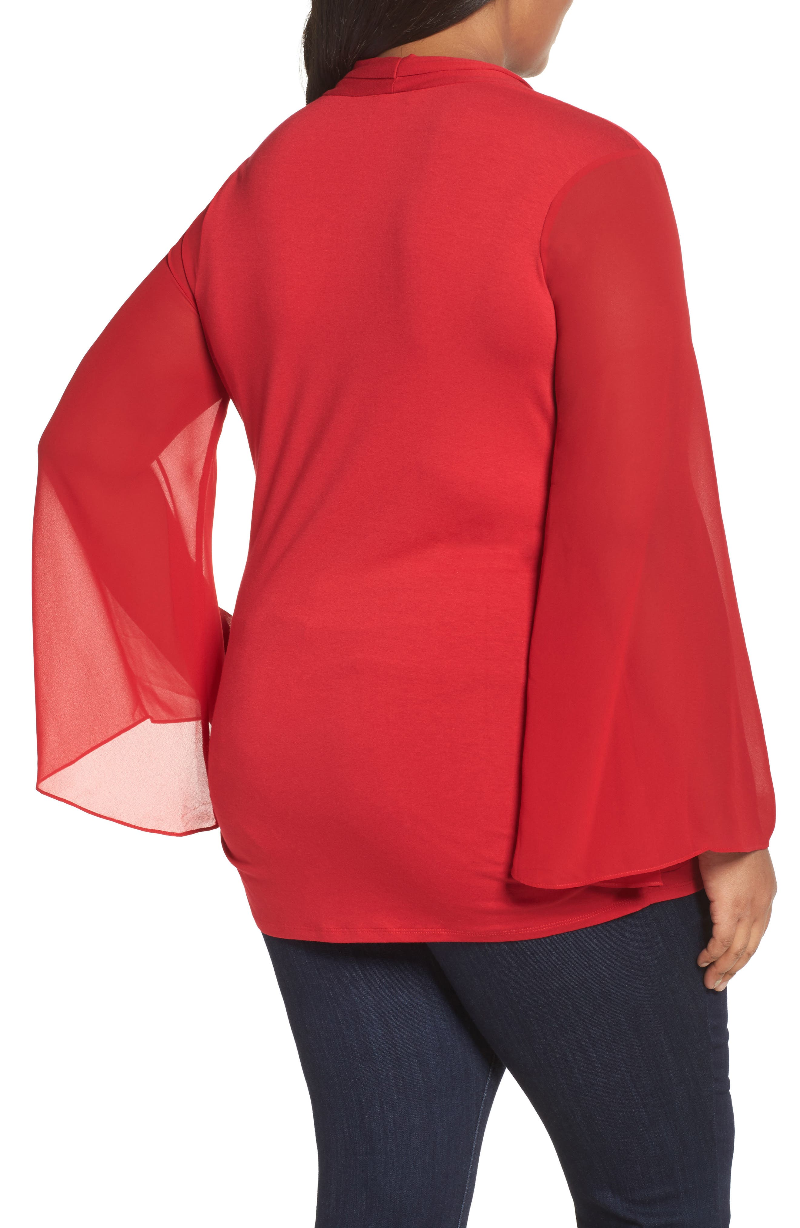Ruched Bell Sleeve Chiffon Blouse,                             Alternate thumbnail 2, color,                             True Crimson