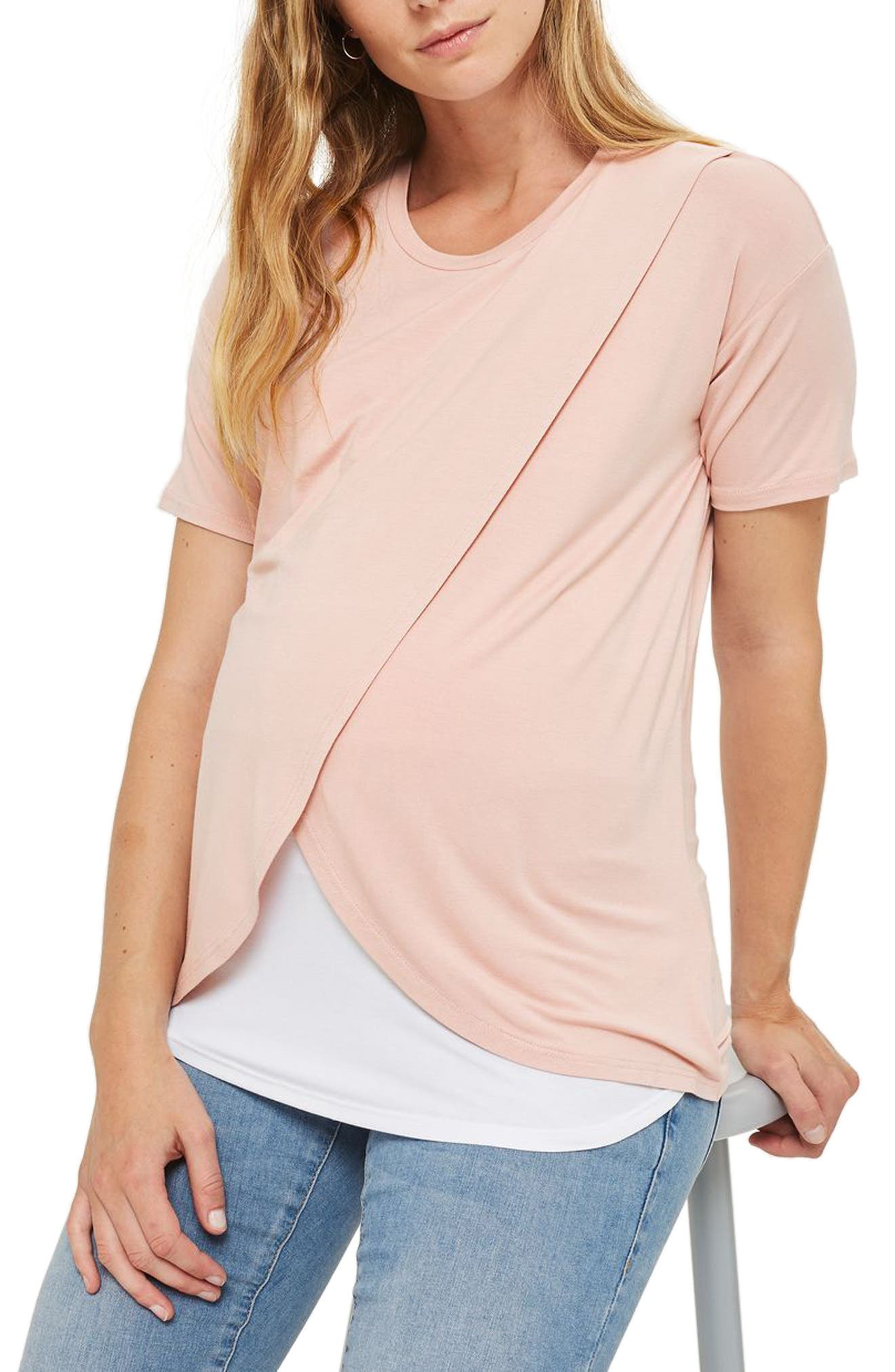 Alternate Image 1 Selected - Topshop Short Sleeve Drape Maternity/Nursing Tee