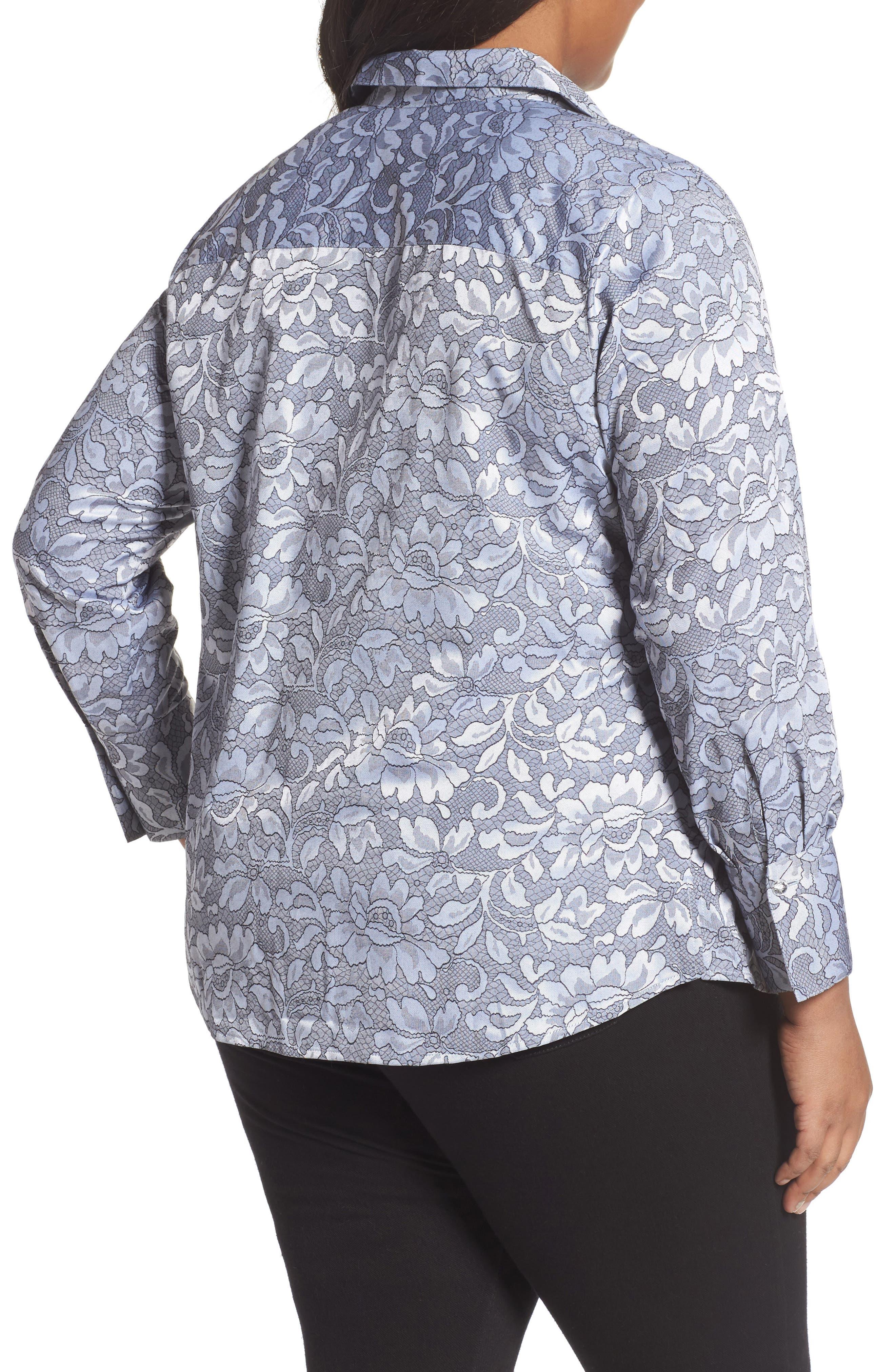 Rhonda Lace Jacquard Shirt,                             Alternate thumbnail 2, color,                             Slate