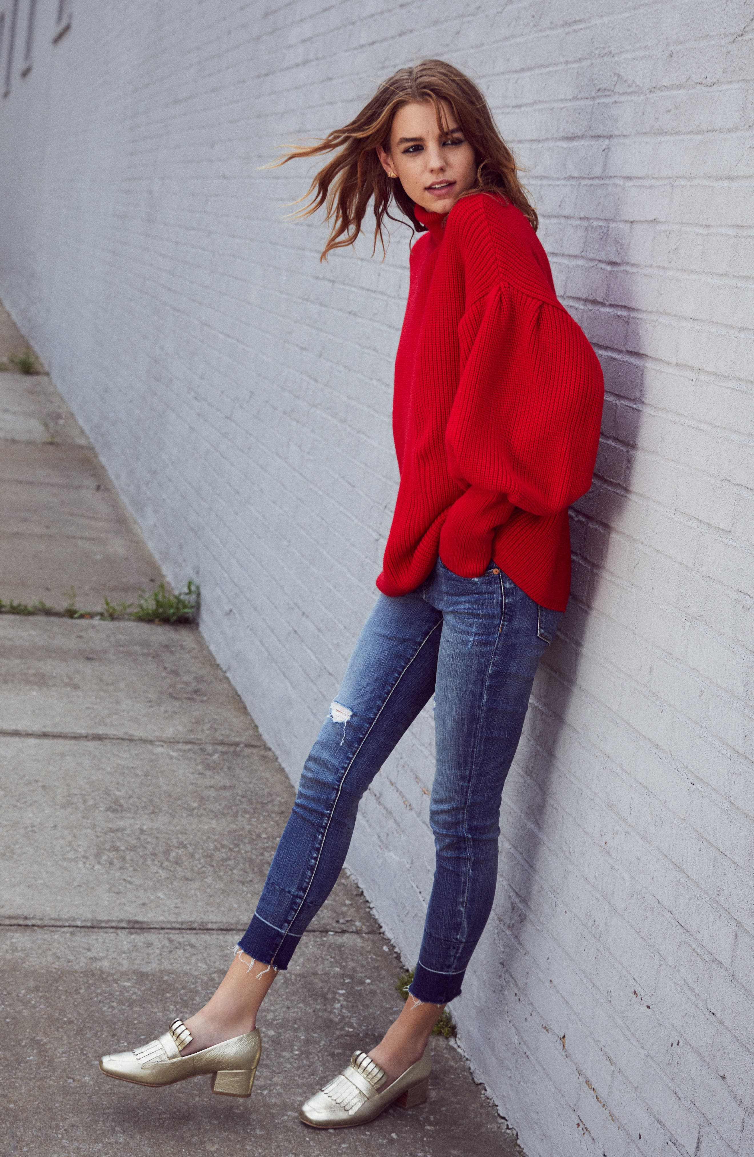 Balloon Sleeve Turtleneck Sweater,                             Alternate thumbnail 2, color,                             Red