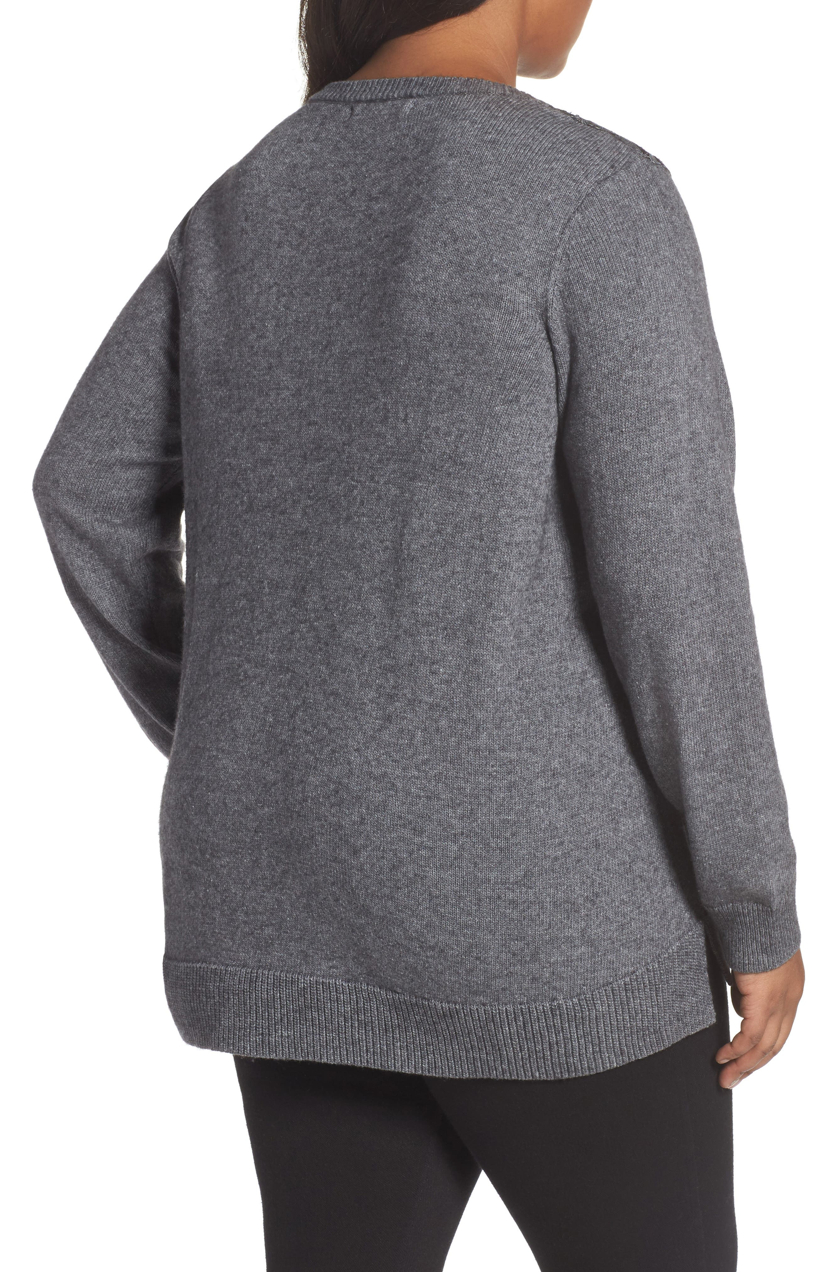 Pixie Metallic Lace Panel Sweater,                             Alternate thumbnail 2, color,                             Slate