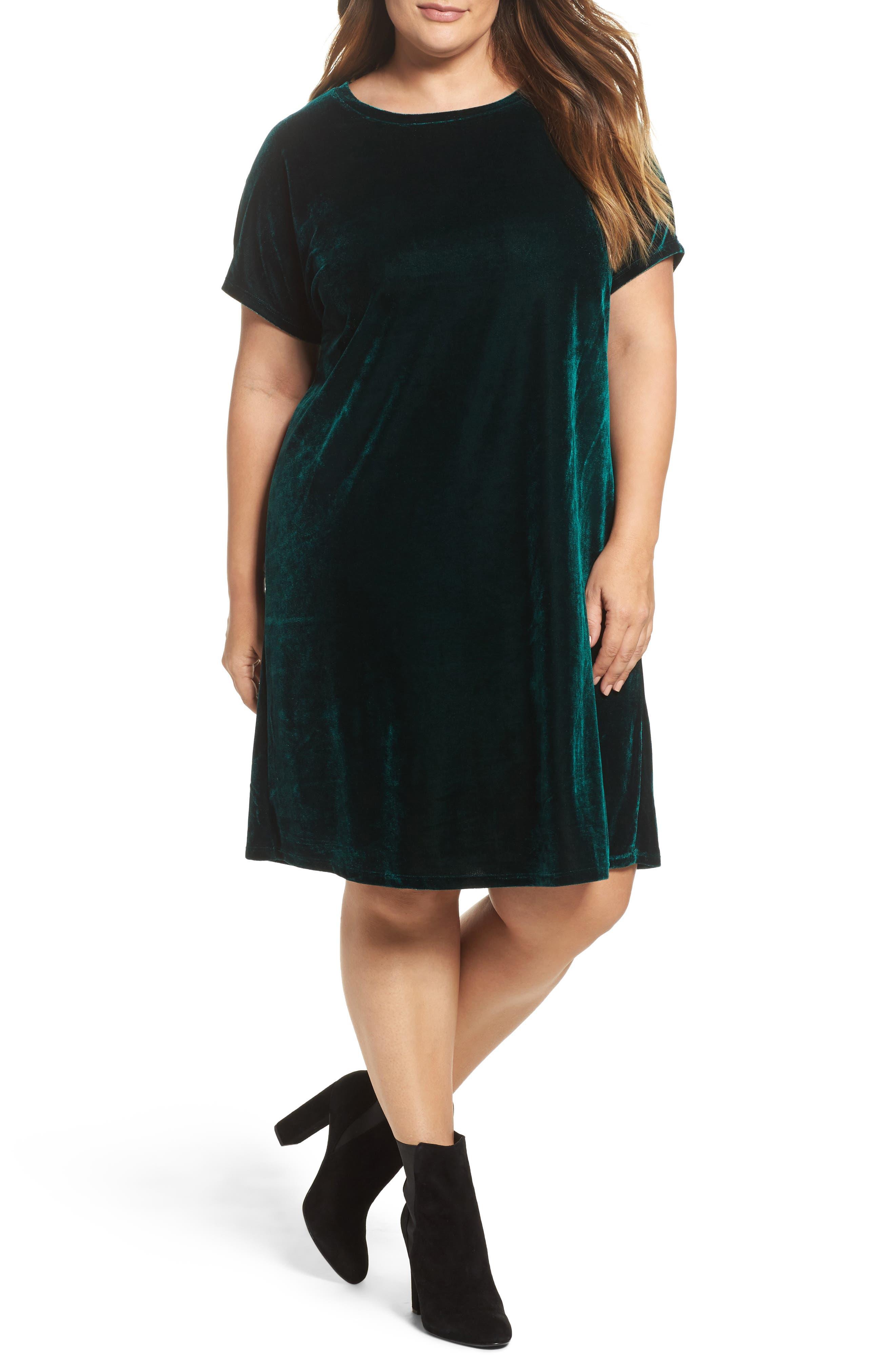 Velvet Shift Dress,                             Main thumbnail 1, color,                             Pine Green