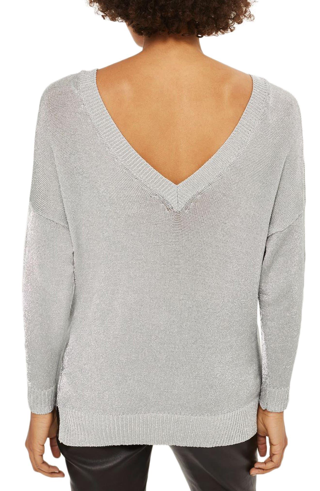 Metallic Longline V-Neck Sweater,                             Alternate thumbnail 3, color,                             Silver