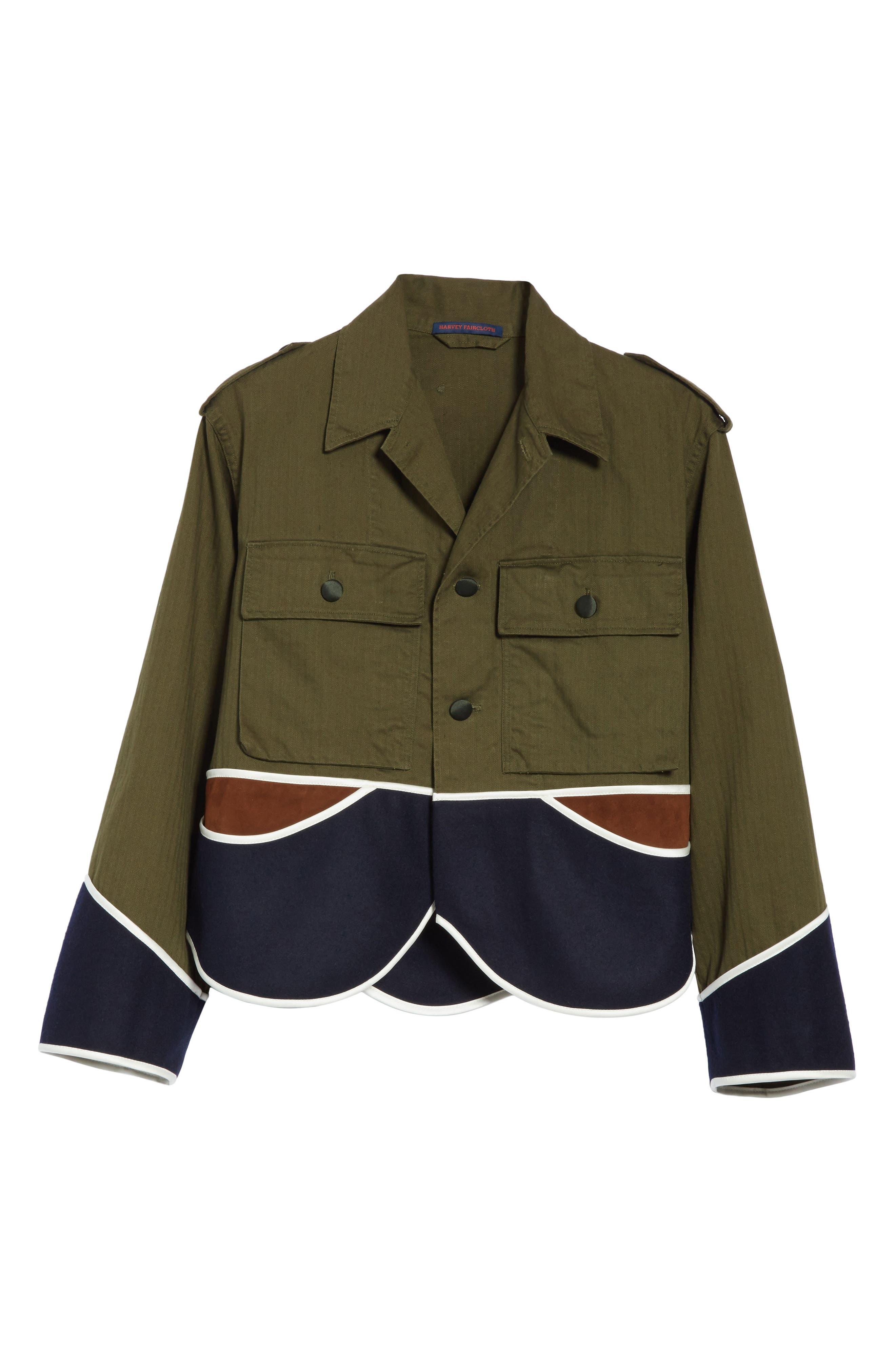 Vintage Crop Jacket,                             Alternate thumbnail 6, color,                             Olive