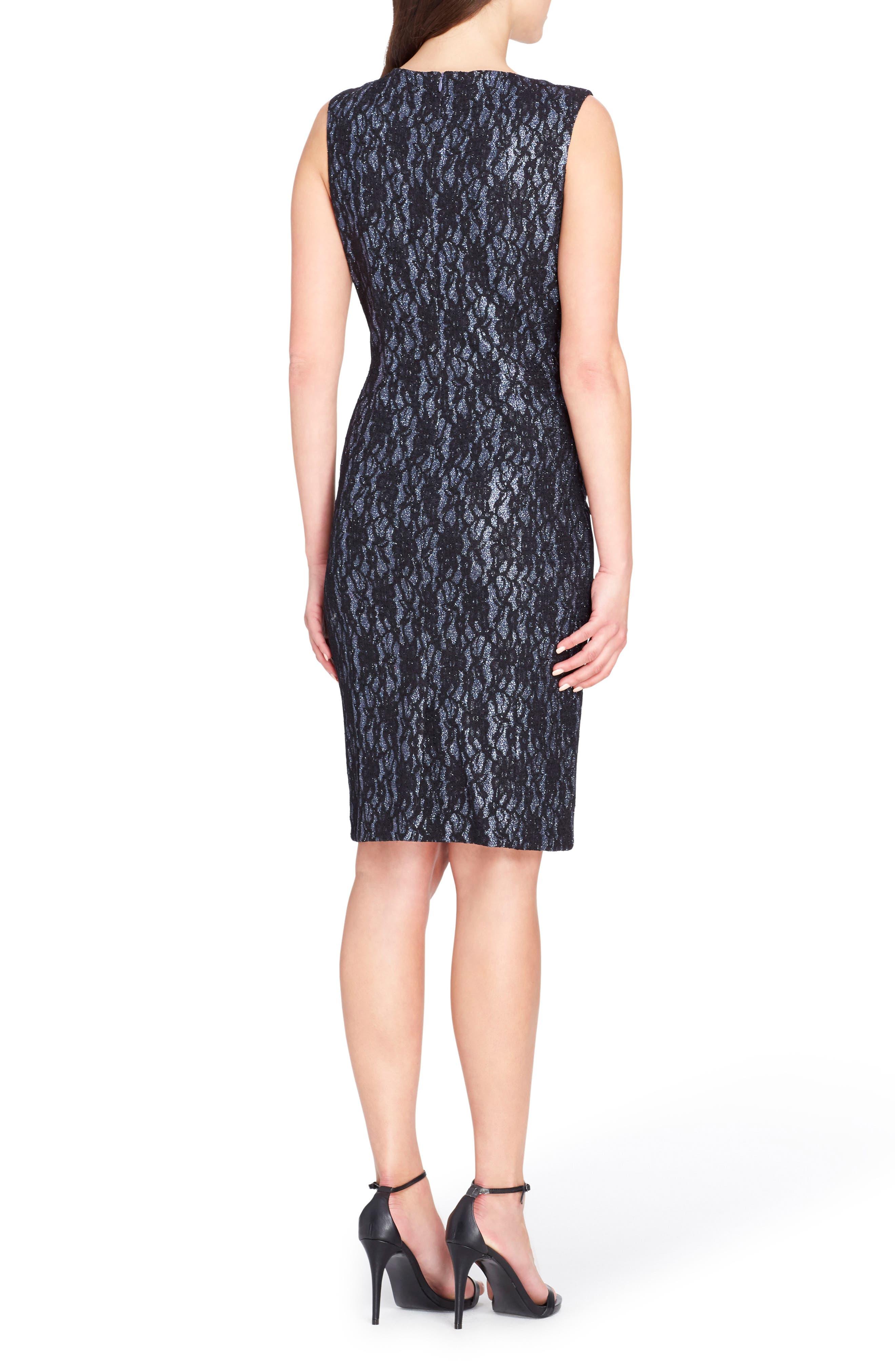Bonded Lace Sheath Dress,                             Alternate thumbnail 2, color,                             Shadow/ Black