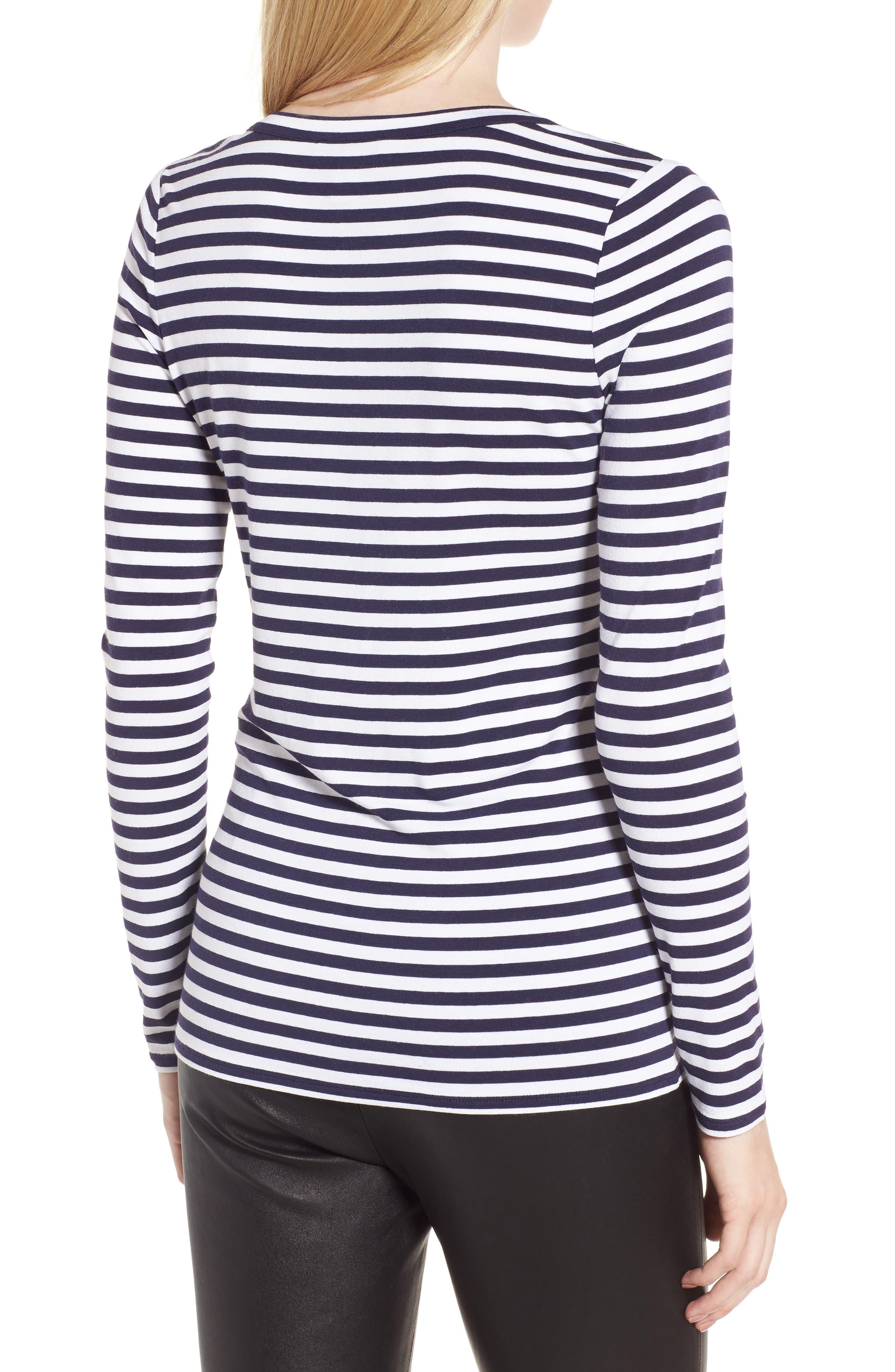 Stripe Long Sleeve Tee,                             Alternate thumbnail 2, color,                             Navy- Ivory Even Stripe
