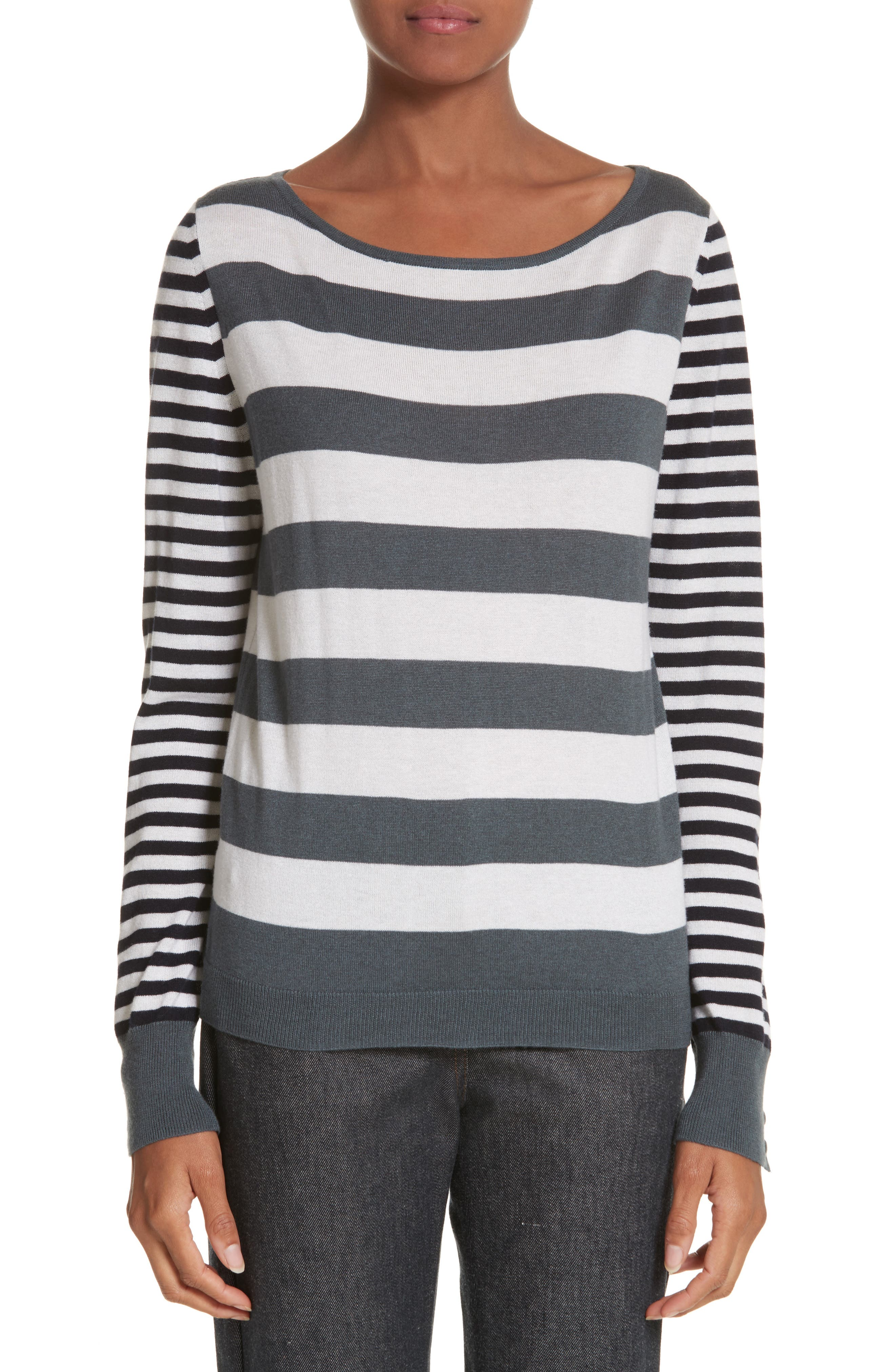Marica Stripe Silk & Cashmere Sweater,                             Main thumbnail 1, color,                             Light Grey