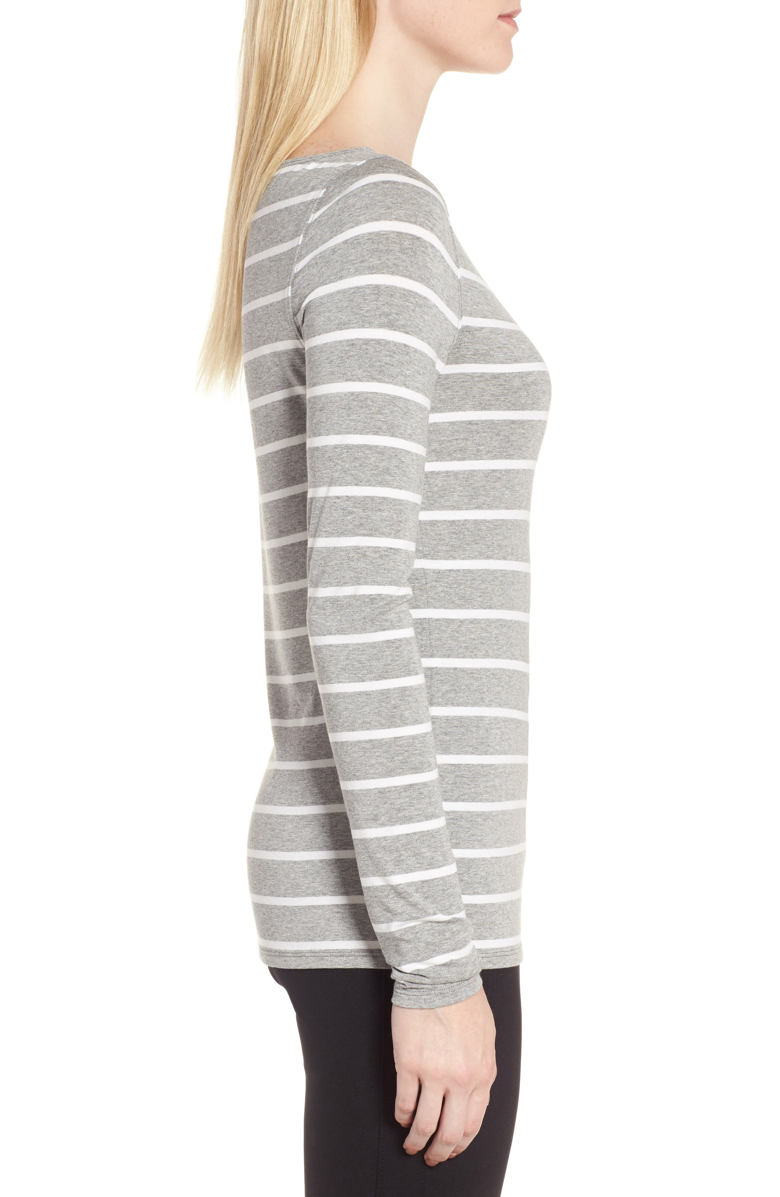 Long Sleeve Bateau Neck Tee,                             Alternate thumbnail 3, color,                             Grey Heather- Ivory Stripe