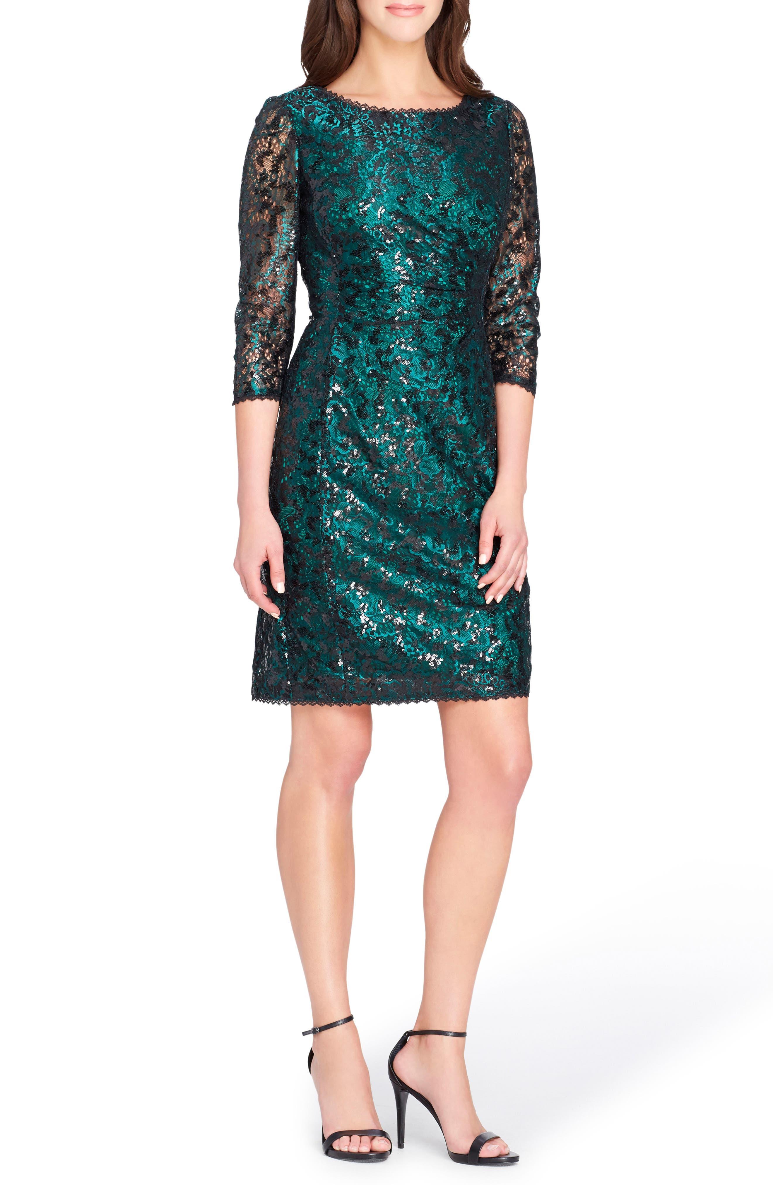 Chemical Lace Sheath Dress,                             Main thumbnail 1, color,                             Emerald Green/ Black