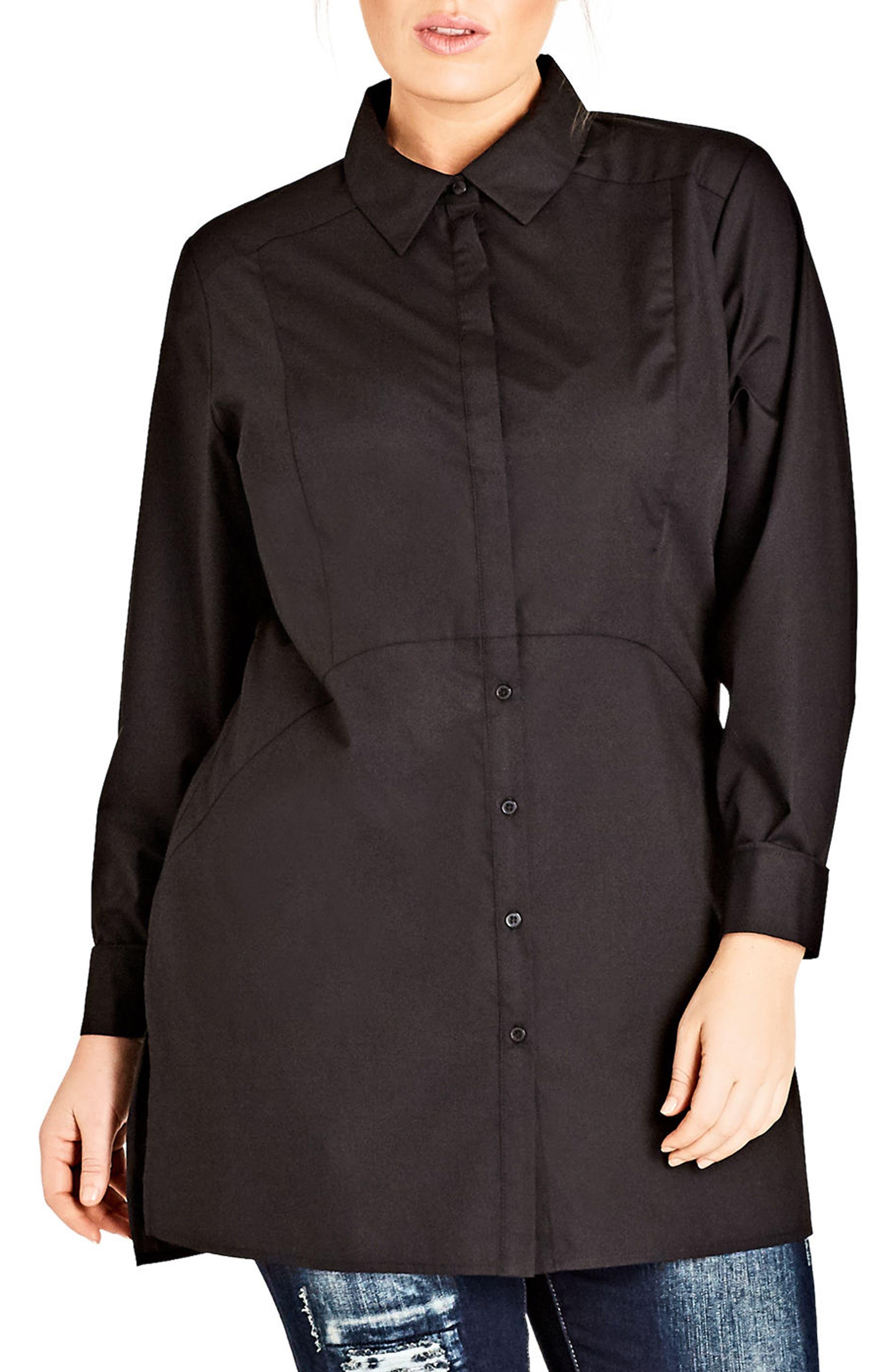 Crisp Longline Shirt,                         Main,                         color, Black