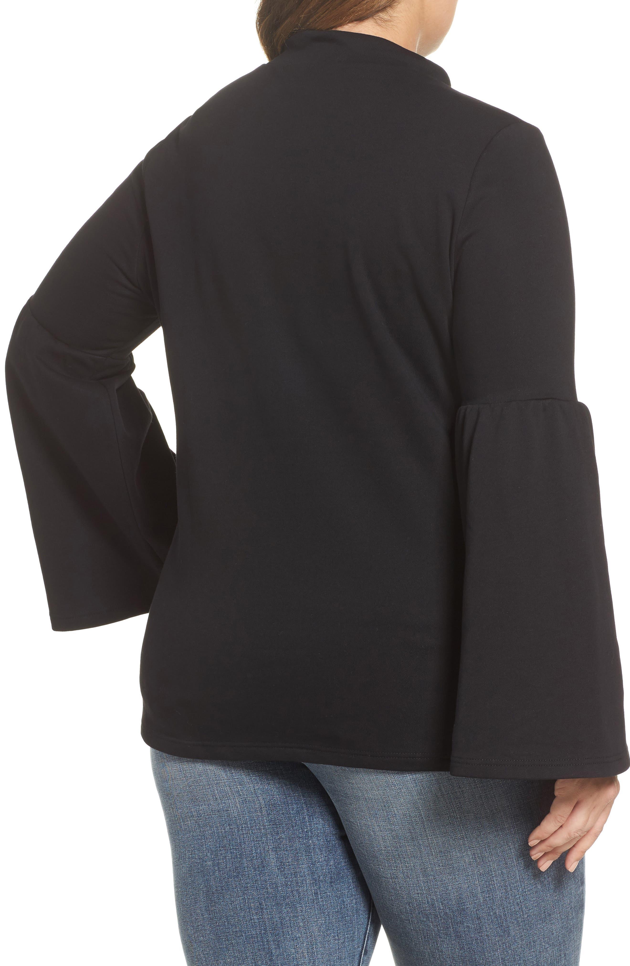 Mock Neck Bell Sleeve Tunic,                             Alternate thumbnail 2, color,                             Black