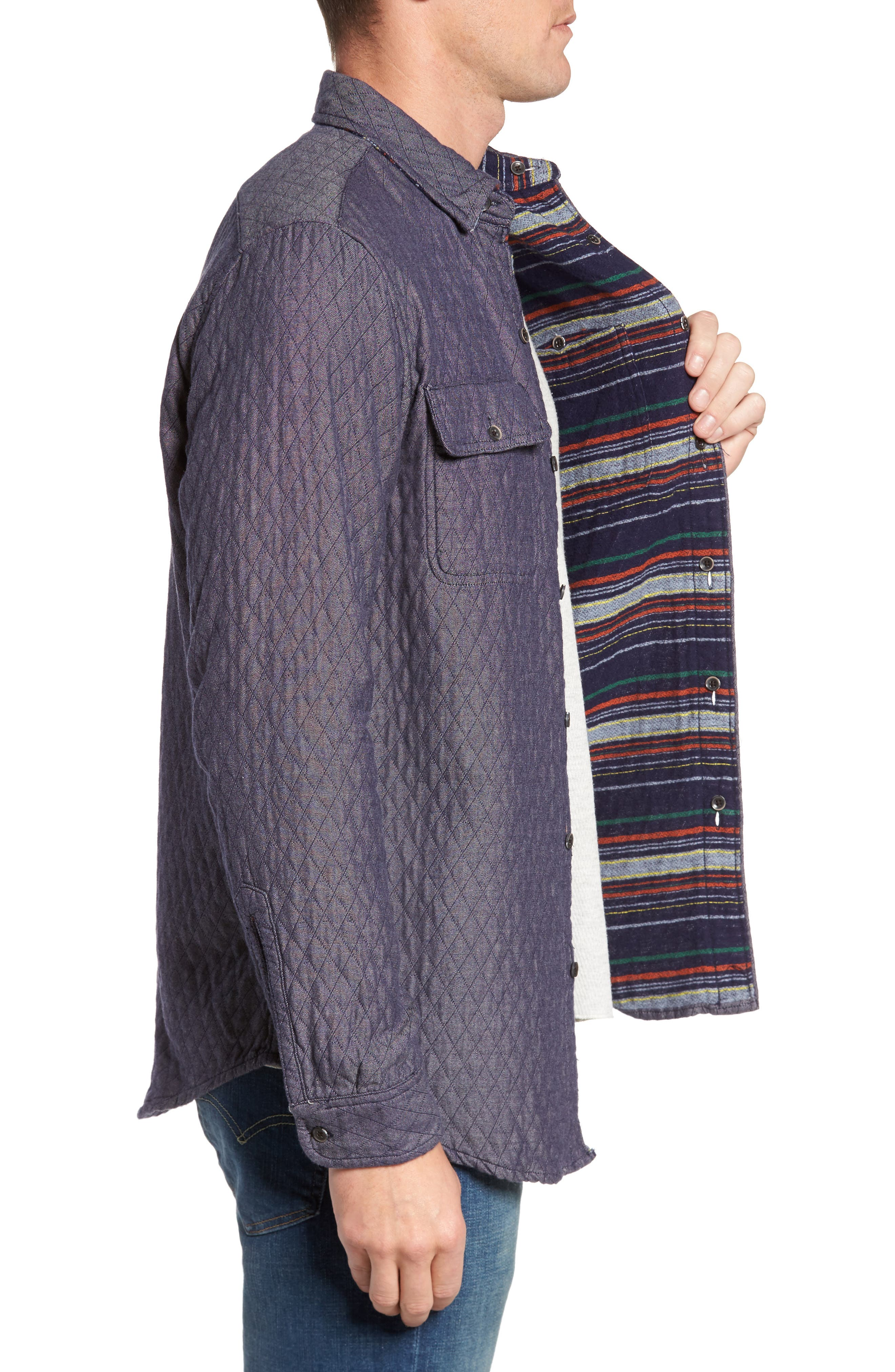 Reversible Double-Face Quilted Shirt Jacket,                             Alternate thumbnail 3, color,                             Multi Colored Stripe