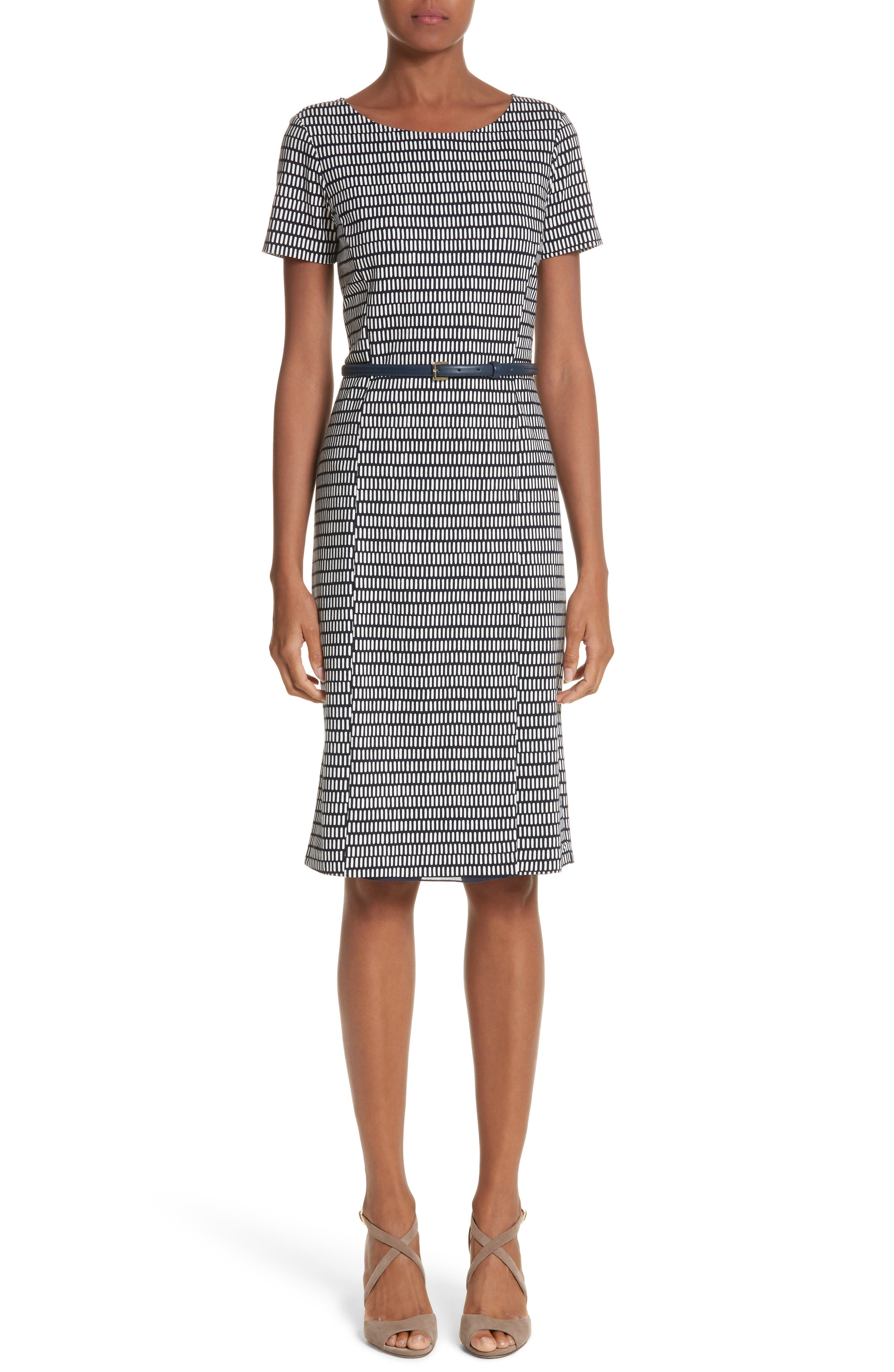 Felino Print Sheath Dress,                             Main thumbnail 1, color,                             Cornflower Blue