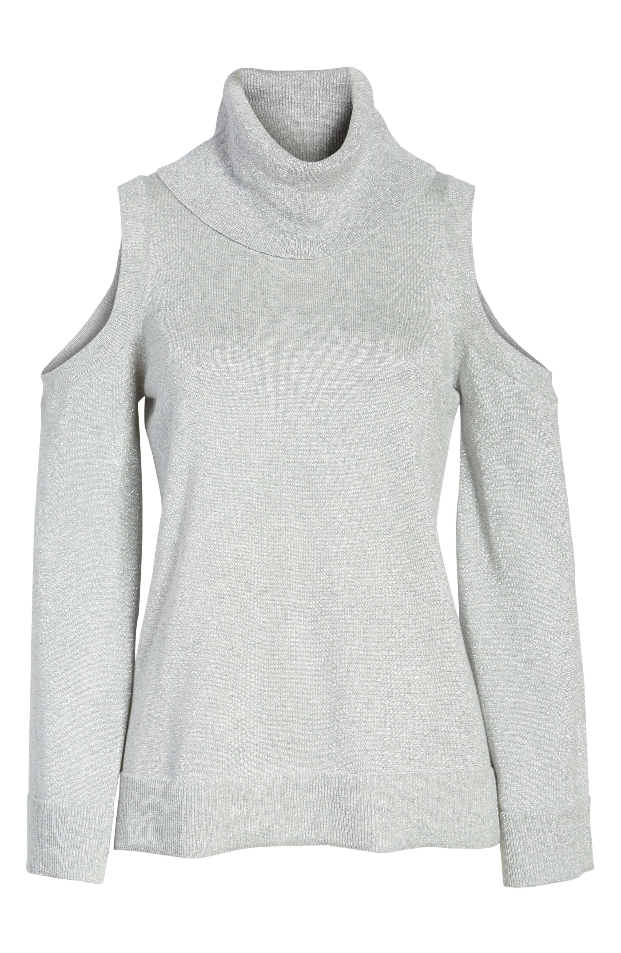 Alternate Image 6  - Chaus Metallic Cold Shoulder Cowl Neck Sweater